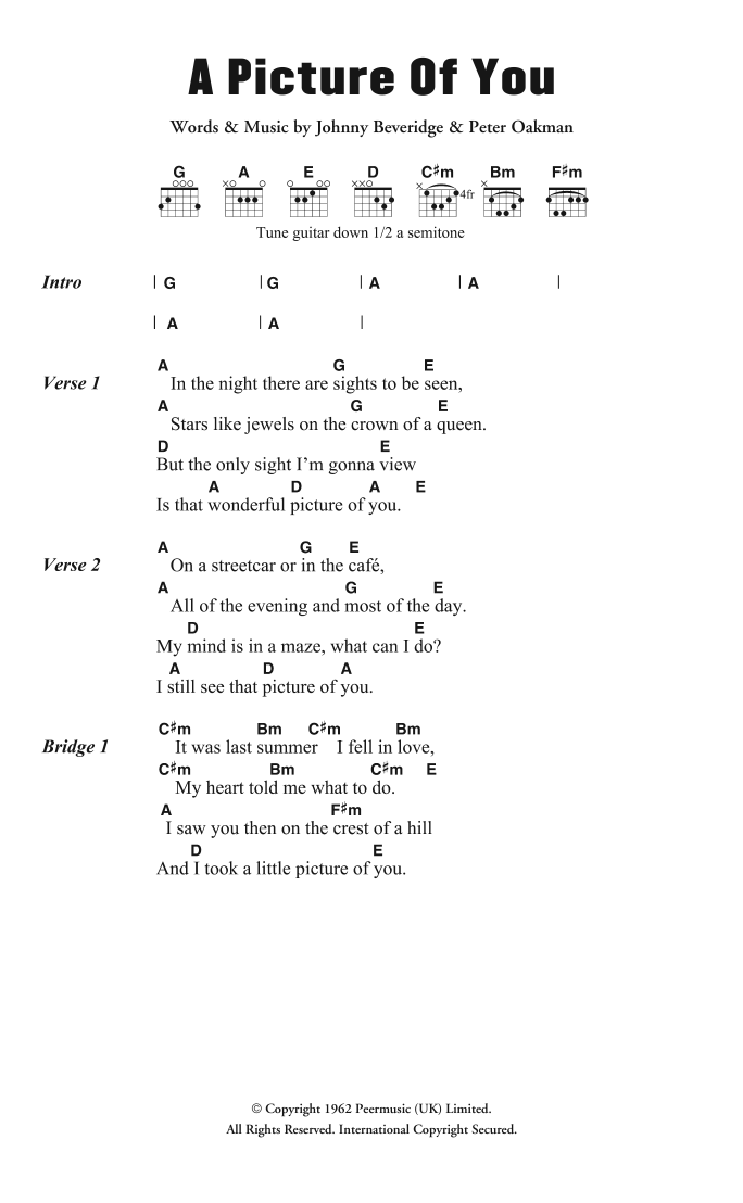 A Picture Of You Sheet Music