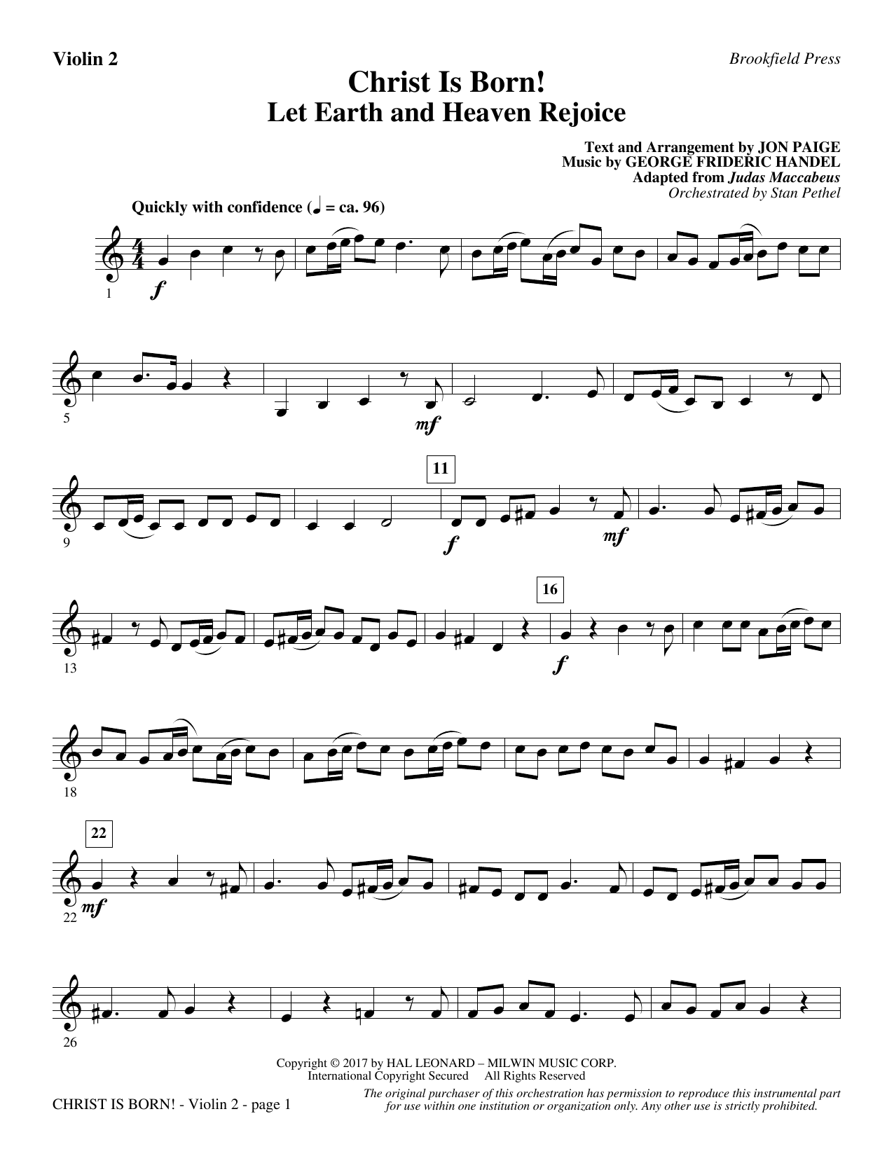 Christ Is Born! - Violin 2 (Choir Instrumental Pak)