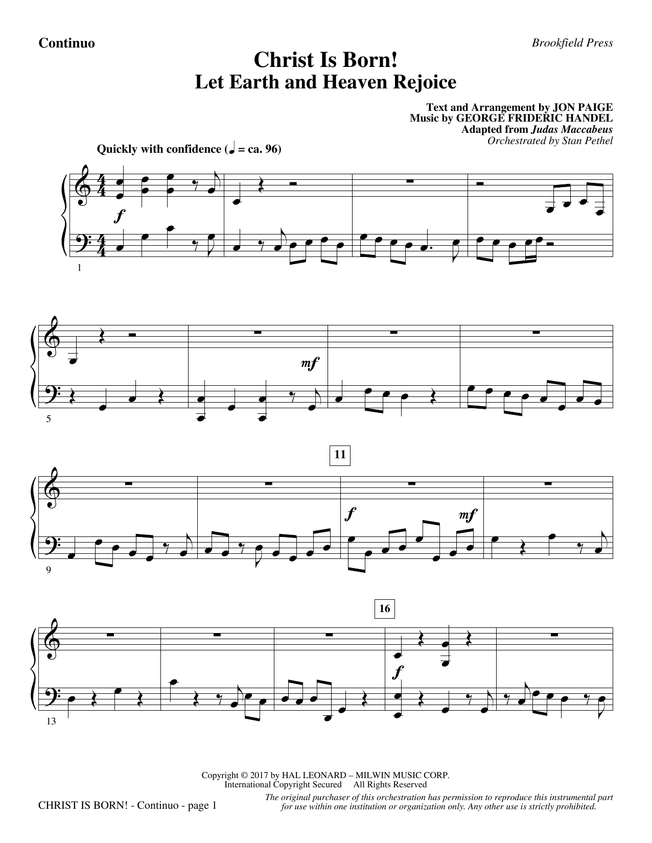 Christ Is Born! - Continuo (Choir Instrumental Pak)