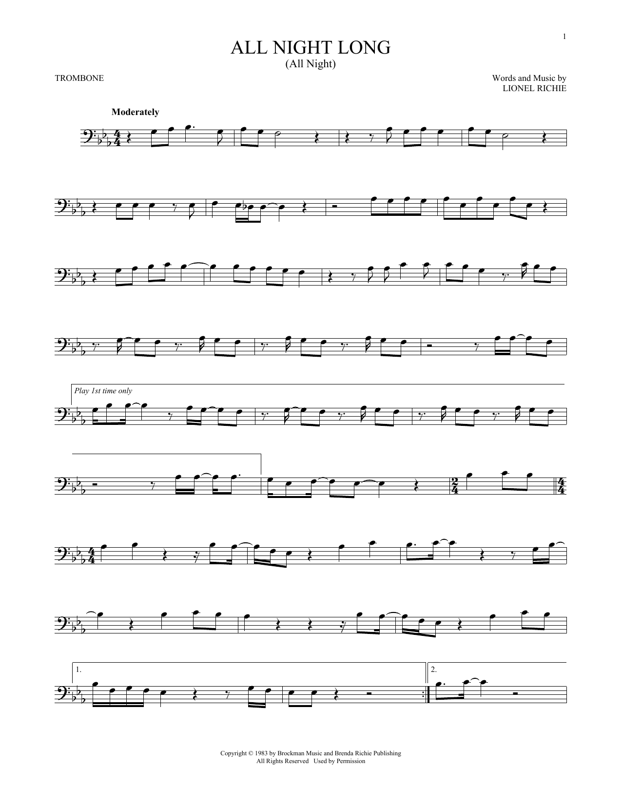 All Night Long (All Night) (Trombone Solo)