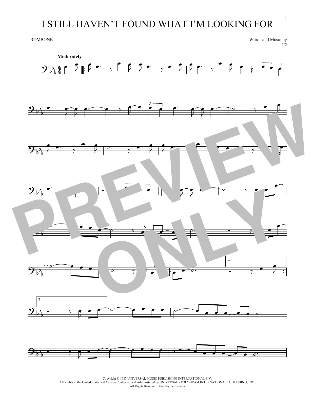 I Still Haven't Found What I'm Looking For (Trombone Solo)
