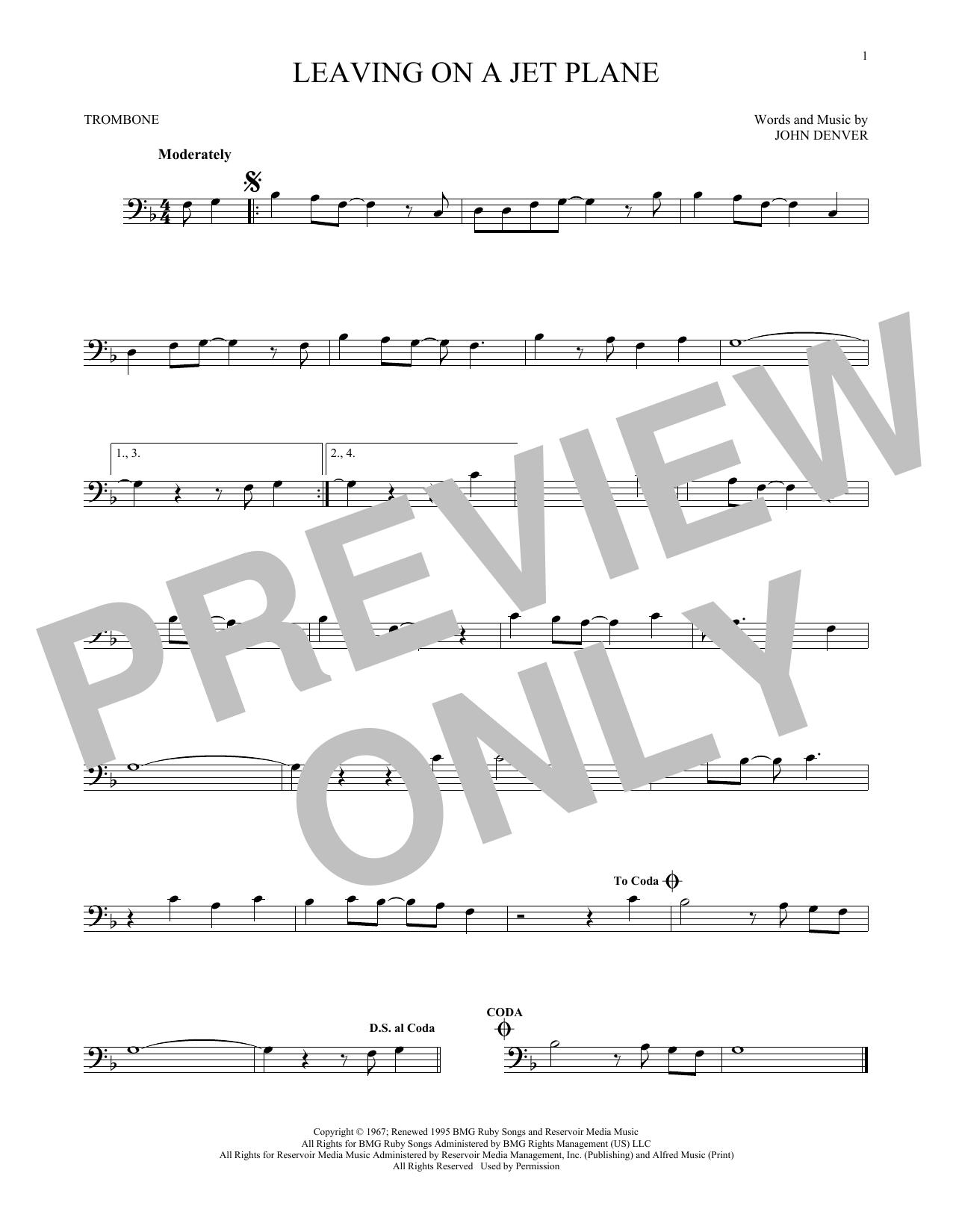 Leaving On A Jet Plane (Trombone Solo)