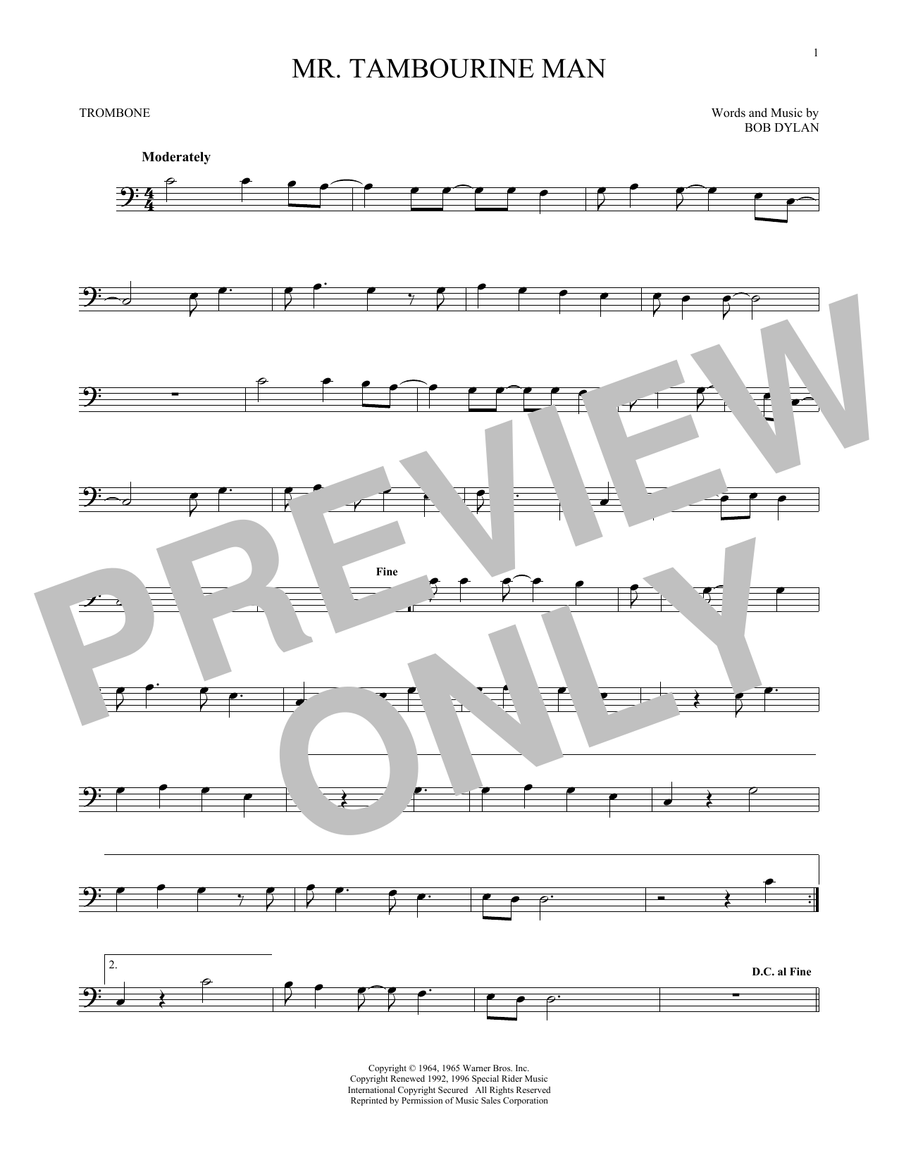 Mr. Tambourine Man (Trombone Solo)