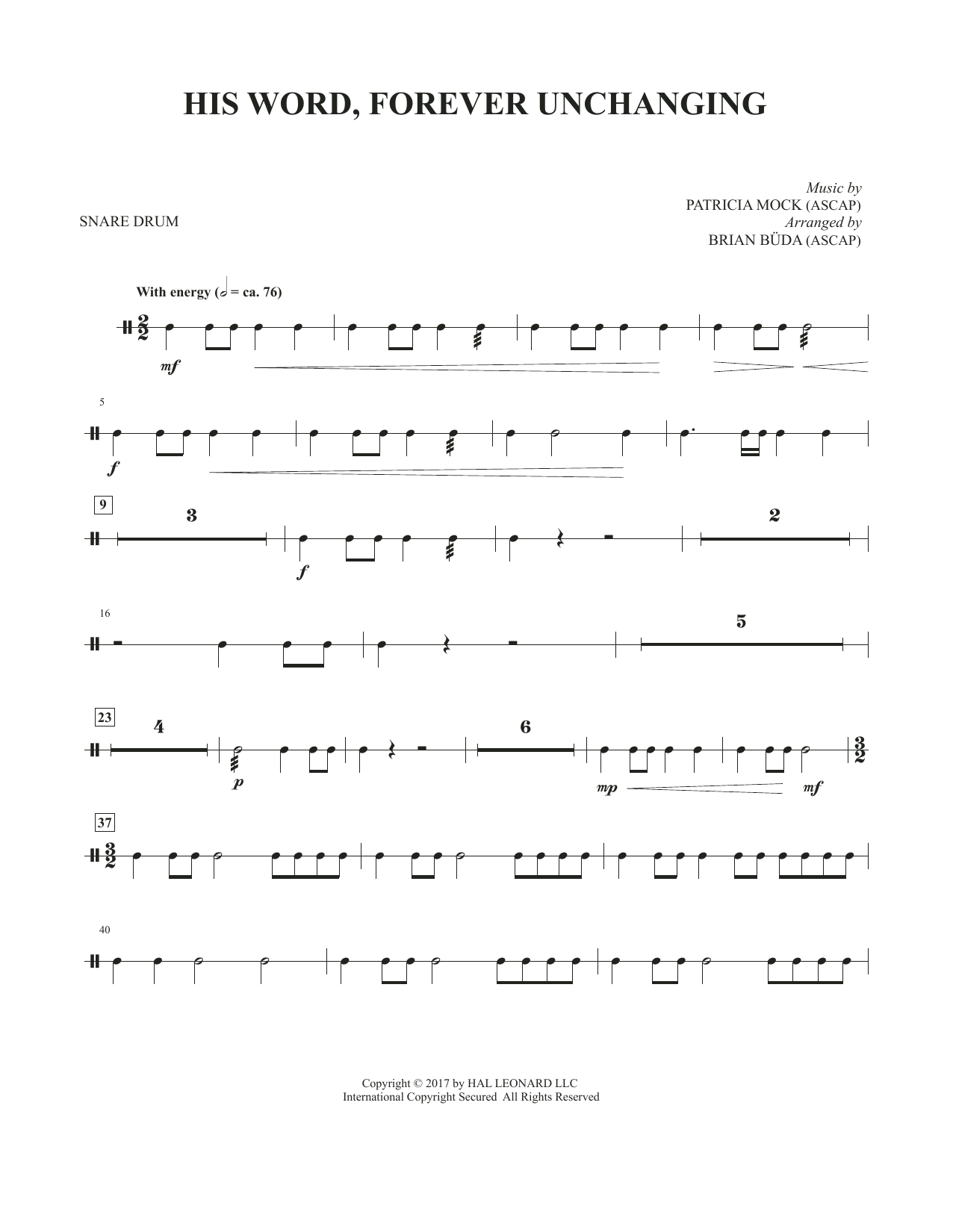 His Word, Forever Unchanging - Snare Drum (Choir Instrumental Pak)