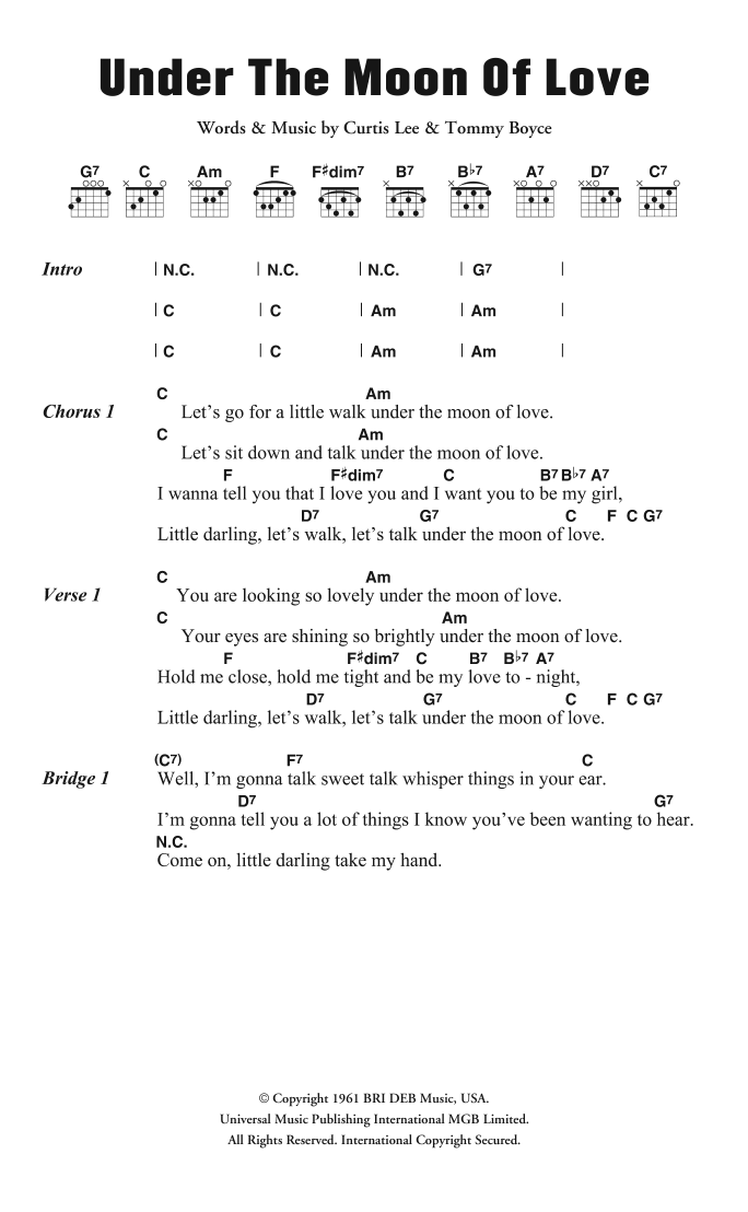 Under The Moon Of Love Sheet Music