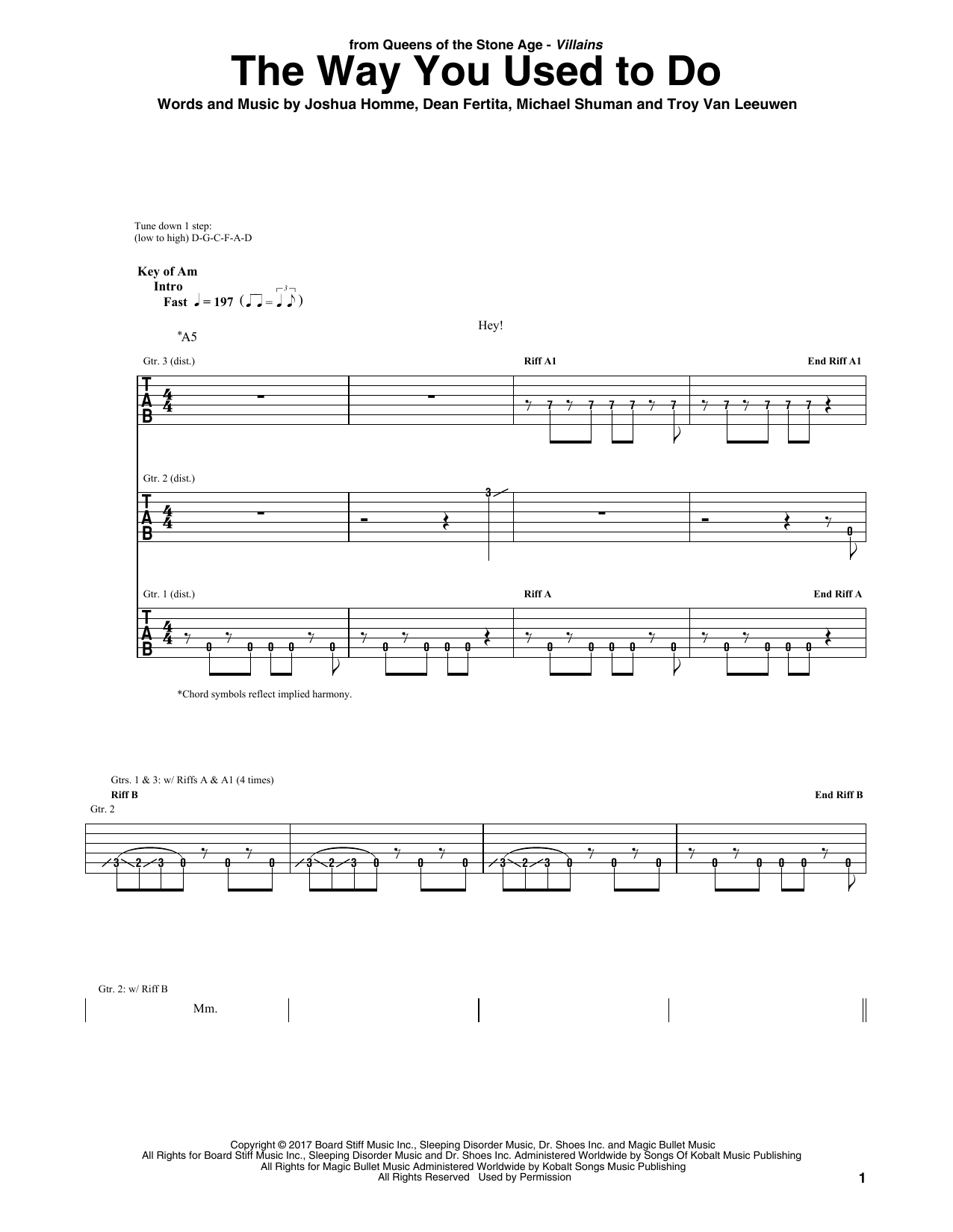 The Way You Used To Do (Guitar Tab)