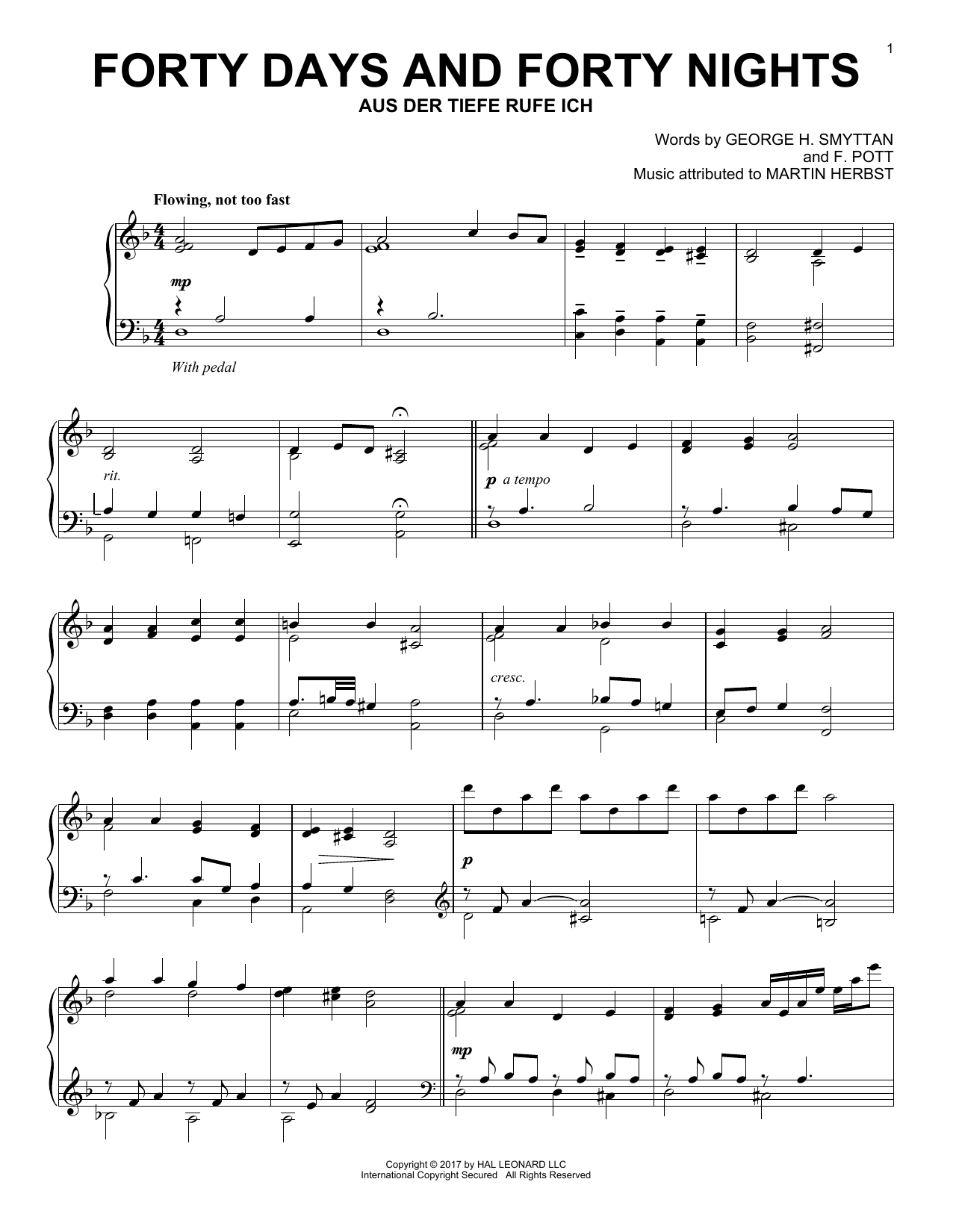 Forty Days And Forty Nights (Piano Solo)