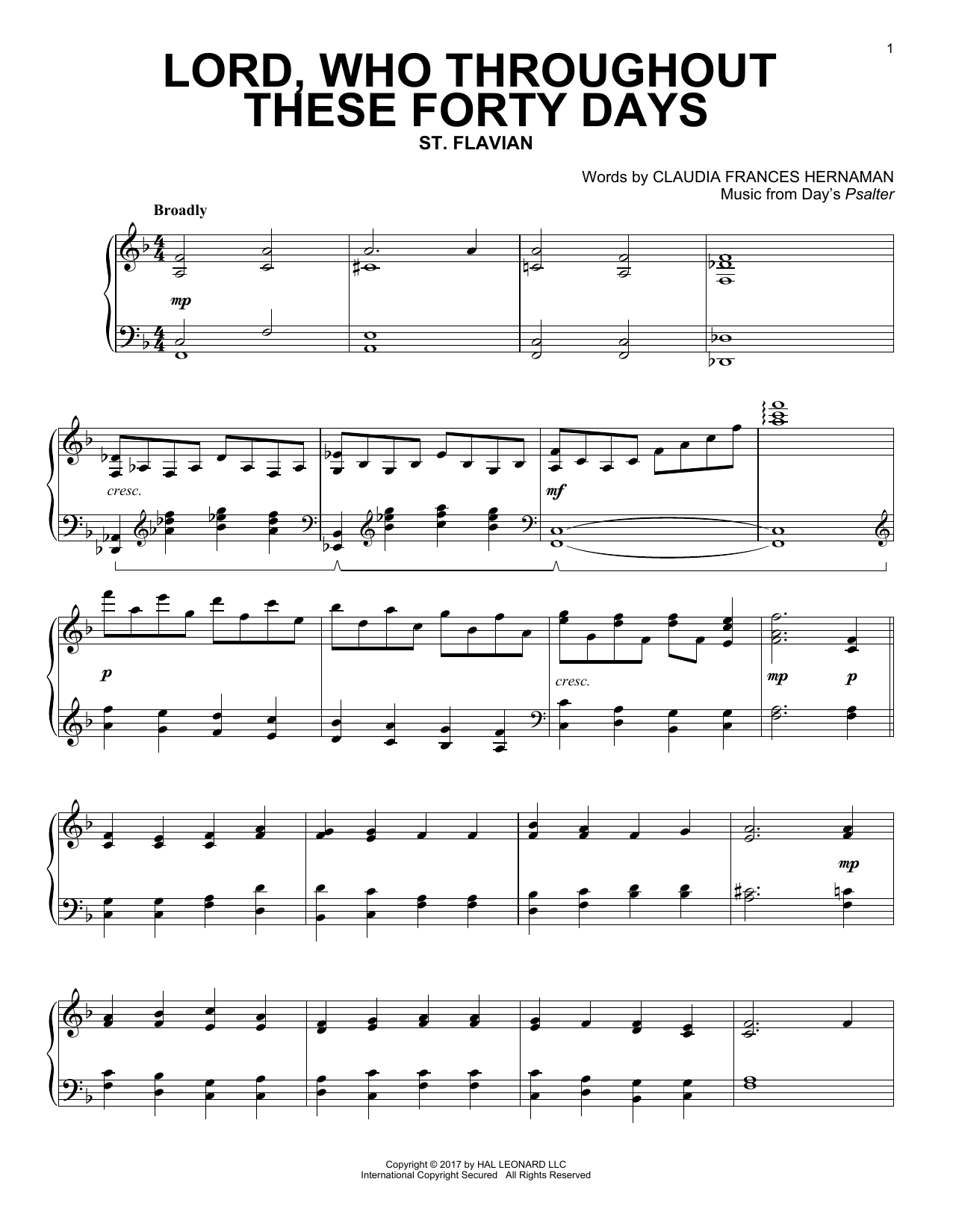 Lord, Who Throughout These Forty Days (Piano Solo)