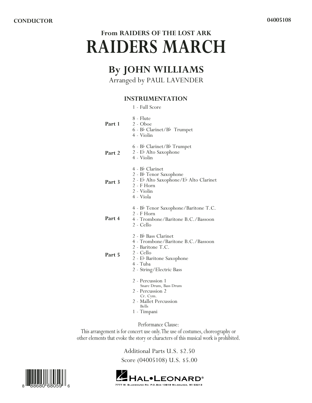 Raiders March (COMPLETE) sheet music for concert band by John Williams and Paul Lavender. Score Image Preview.