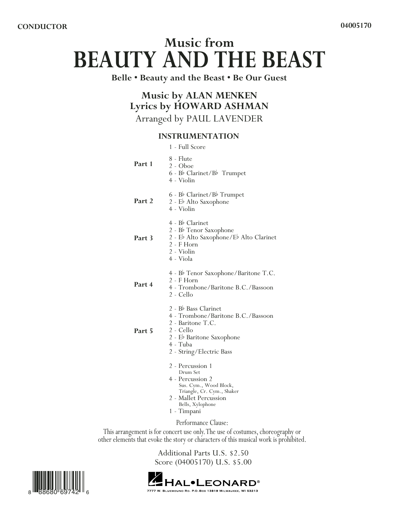 Music from Beauty and the Beast (COMPLETE) sheet music for concert band by Paul Lavender. Score Image Preview.
