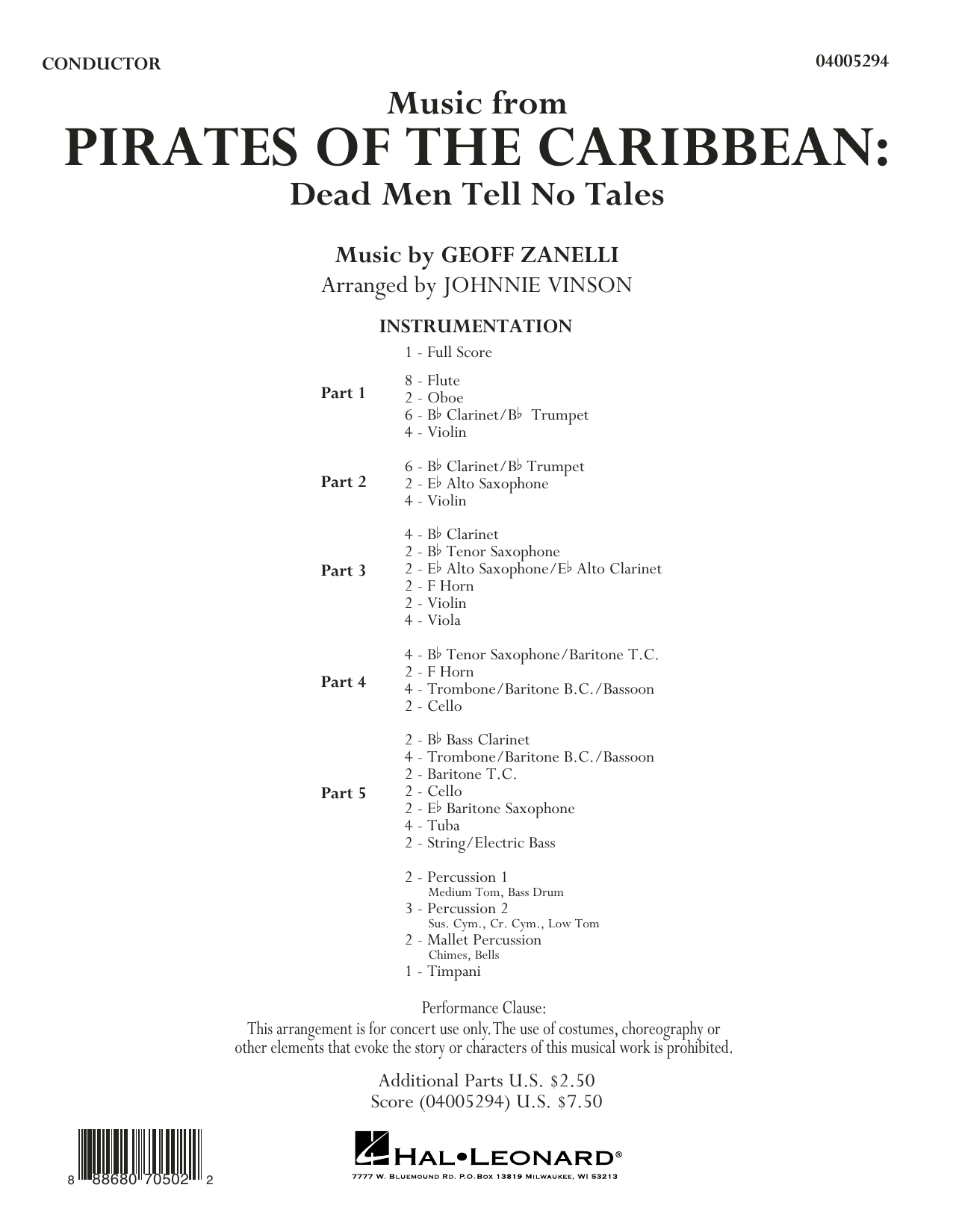 Music from Pirates of the Caribbean: Dead Men Tell No Tales (COMPLETE) sheet music for concert band by Johnnie Vinson. Score Image Preview.