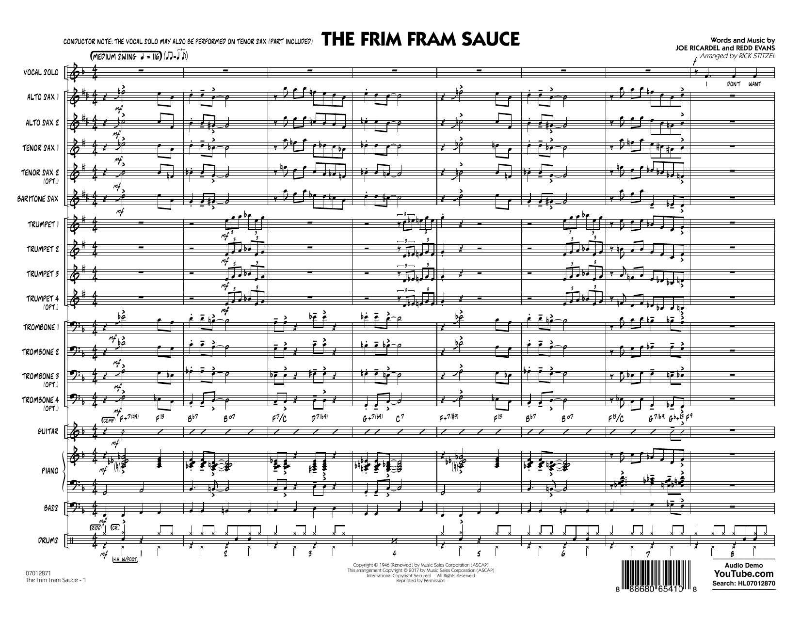 The Frim Fram Sauce (Key: F) (COMPLETE) sheet music for jazz band by Rick Stitzel, Joe Ricardel and Redd Evans. Score Image Preview.