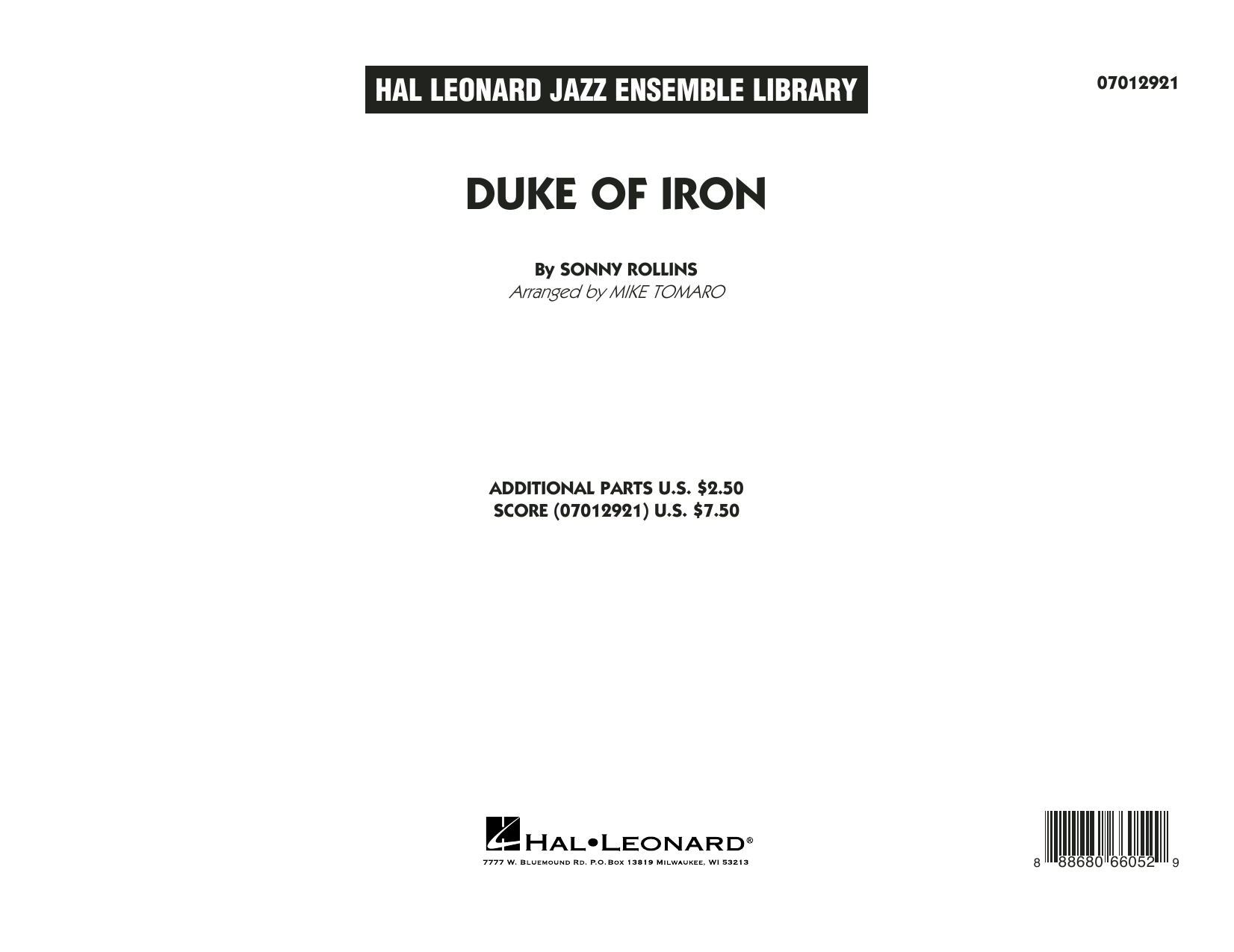 Duke Of Iron (COMPLETE) sheet music for jazz band by Sonny Rollins and Mike Tomaro. Score Image Preview.
