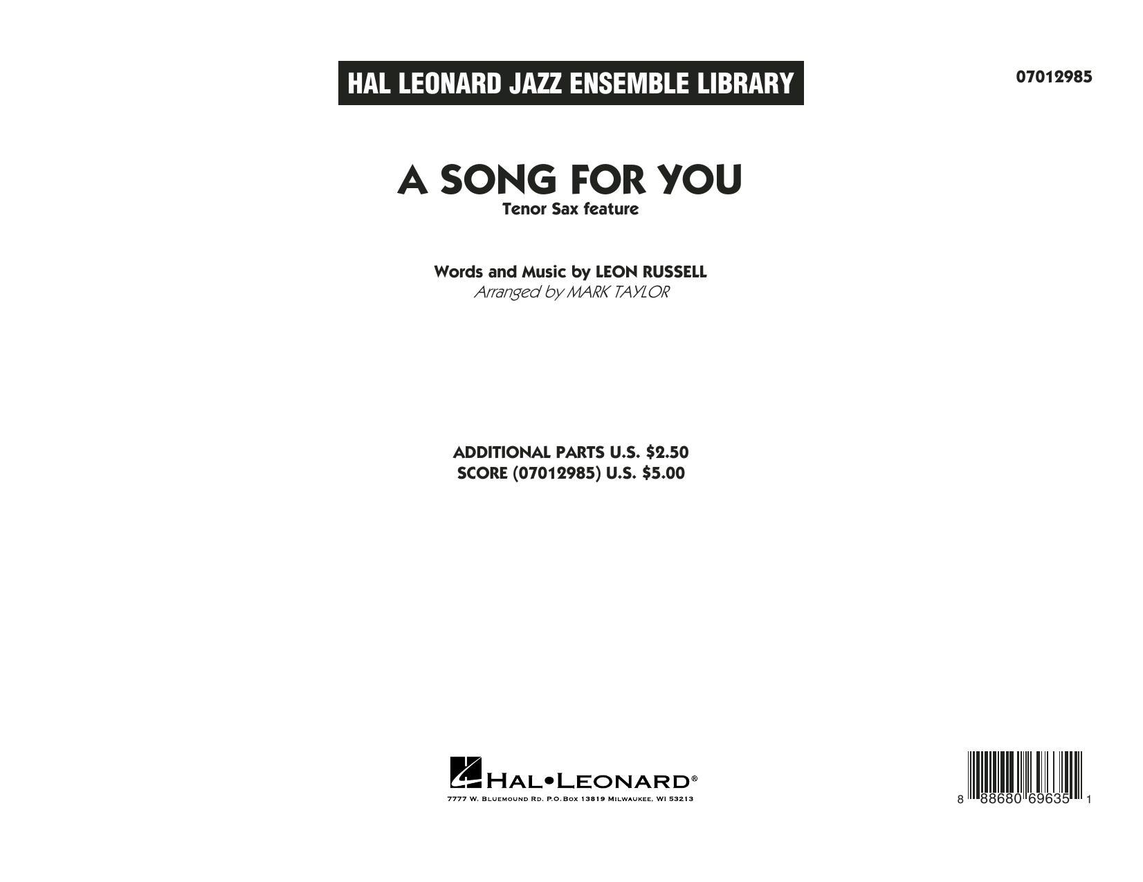 A Song for You (Tenor Sax Feature) (COMPLETE) sheet music for jazz band by Mark Taylor, Carpenters, Leon Russell and Whitney Houston. Score Image Preview.