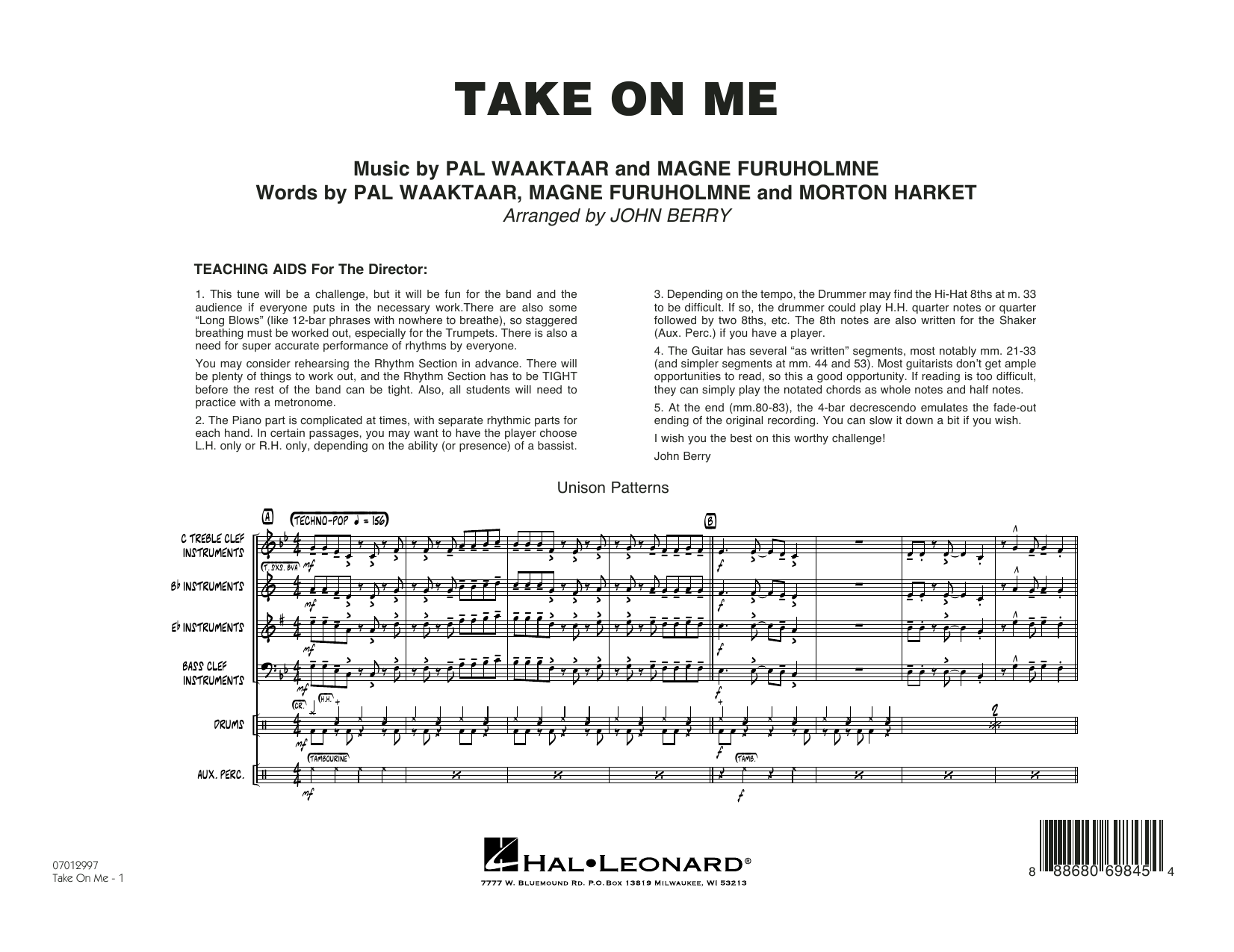 Take on Me (COMPLETE) sheet music for jazz band by John Berry and a-ha. Score Image Preview.
