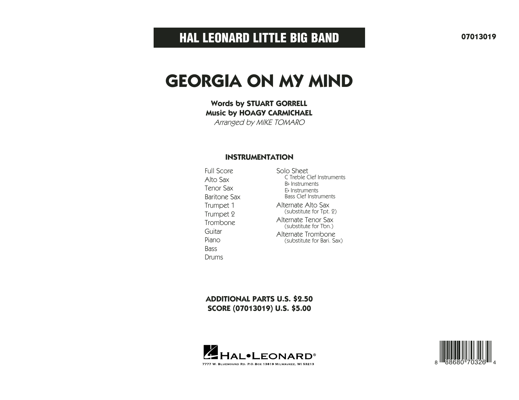 Georgia on My Mind - Full Score (Jazz Ensemble)