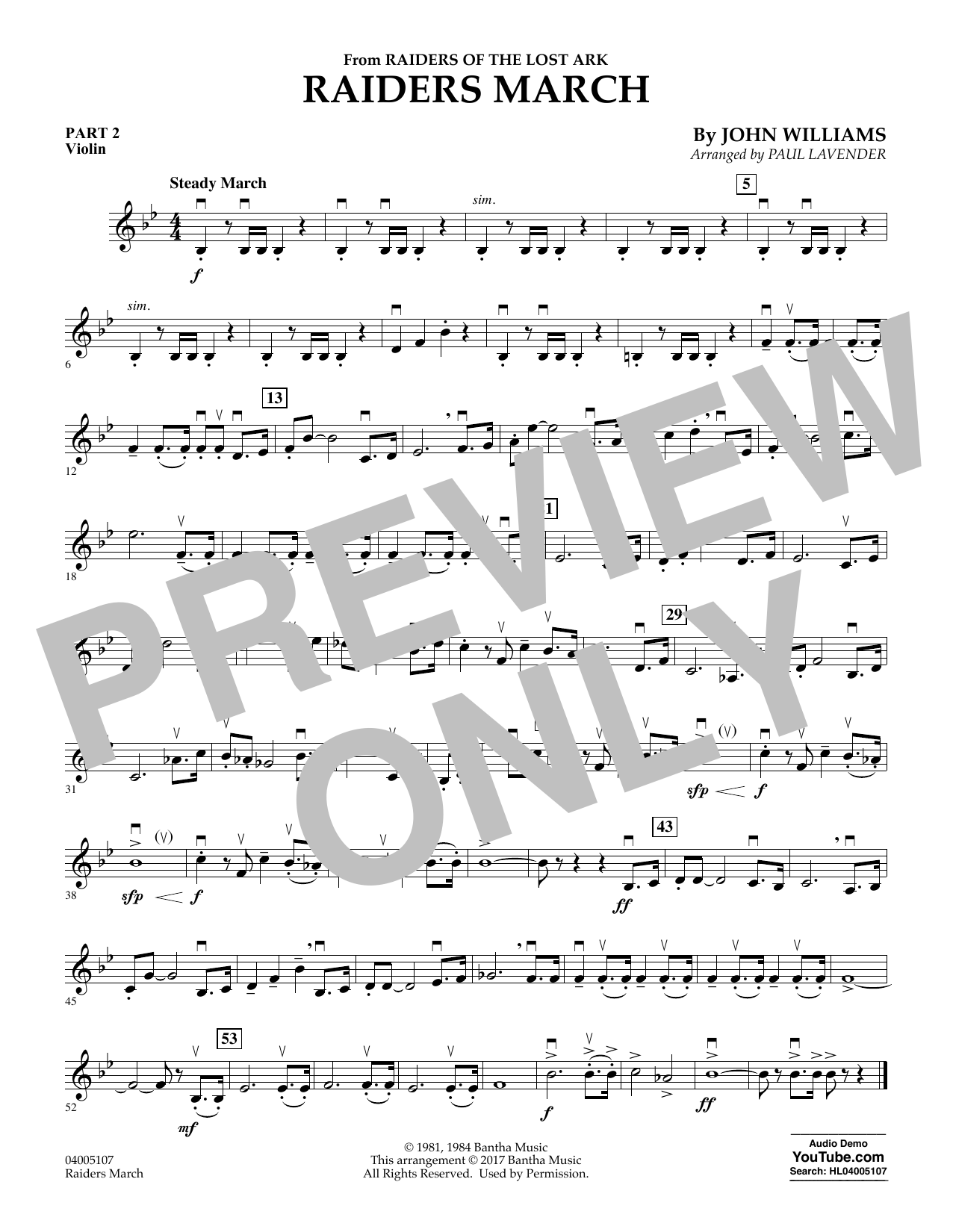 Raiders March - Pt.2 - Violin (Concert Band: Flex-Band)