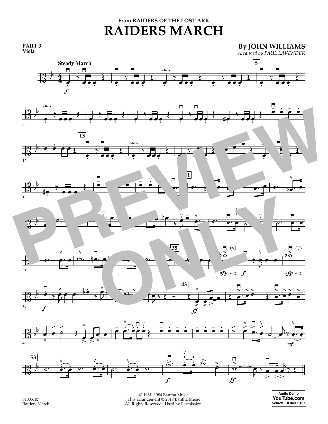 Raiders March - Pt.3 - Viola (Concert Band: Flex-Band)