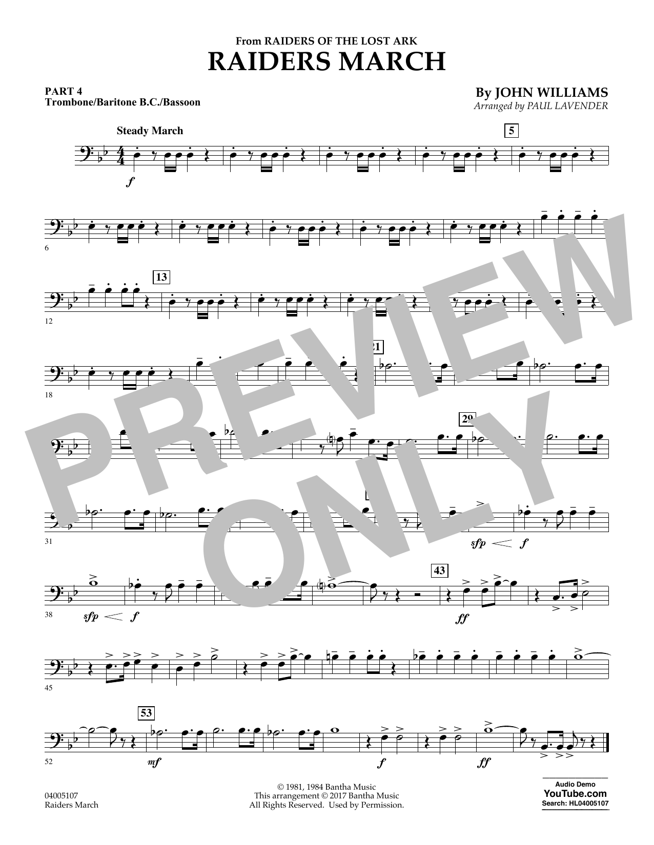 Raiders March - Pt.4 - Trombone/Bar. B.C./Bsn. (Concert Band: Flex-Band)