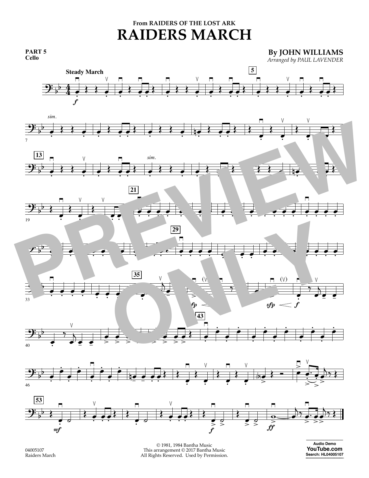 Raiders March - Pt.5 - Cello (Concert Band: Flex-Band)