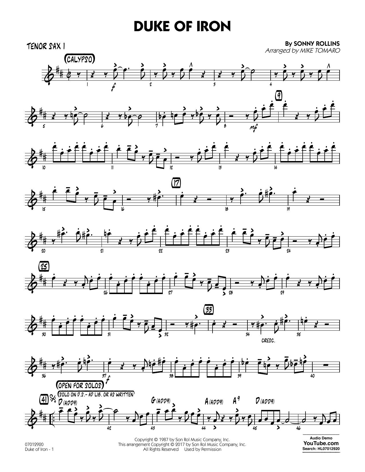 Duke Of Iron - Tenor Sax 1 (Jazz Ensemble)