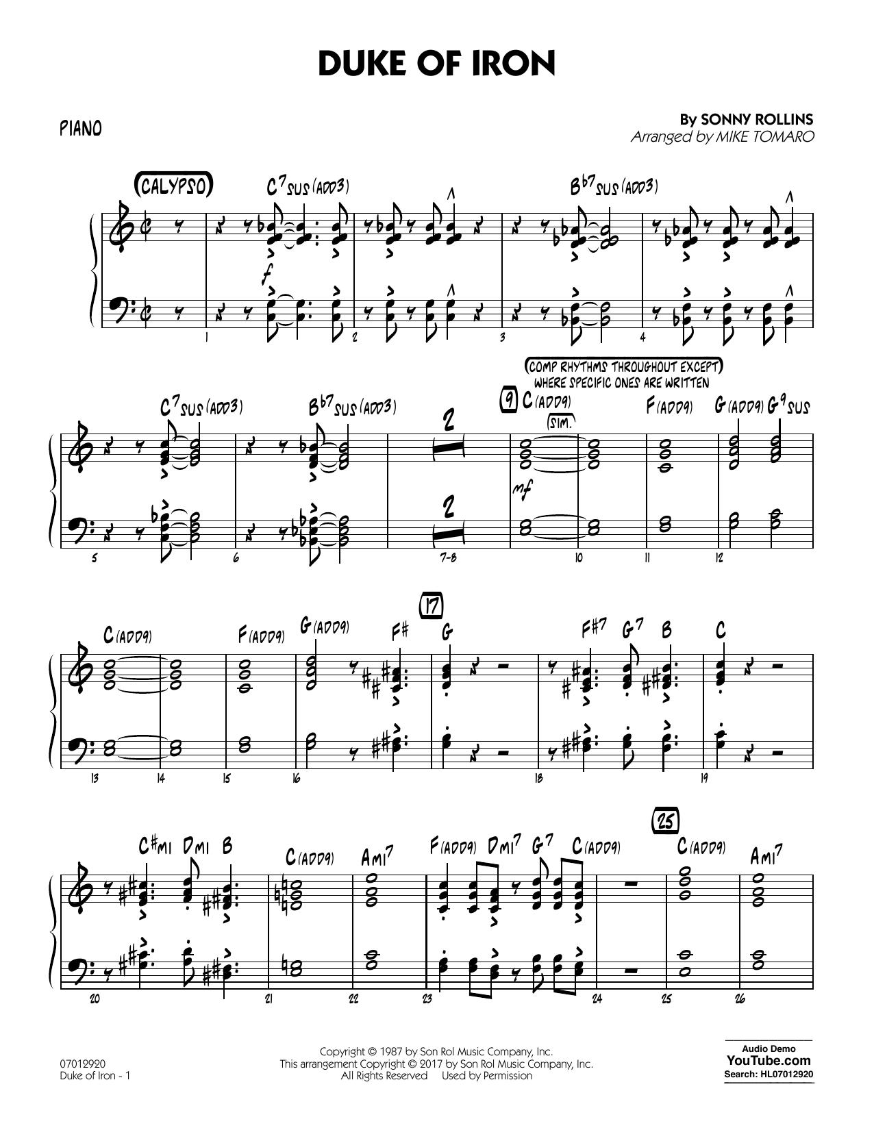 Duke Of Iron - Piano (Jazz Ensemble)