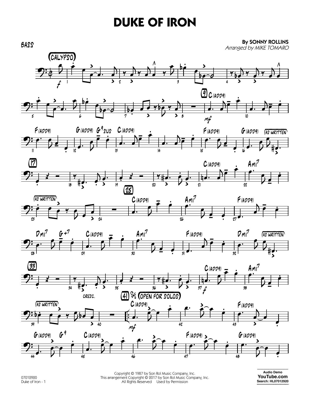 Duke Of Iron - Bass (Jazz Ensemble)