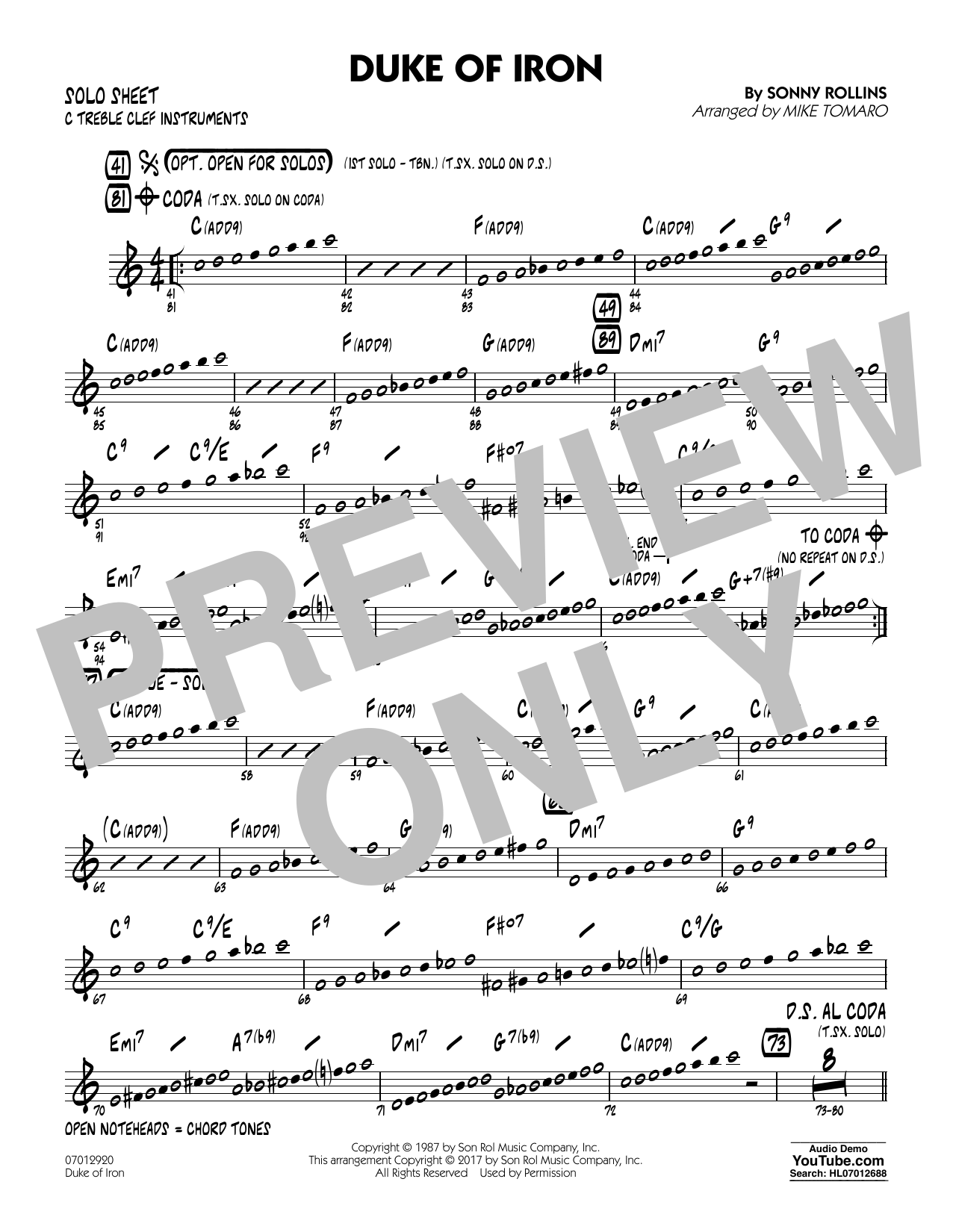 Duke Of Iron - C Solo Sheet (Jazz Ensemble)