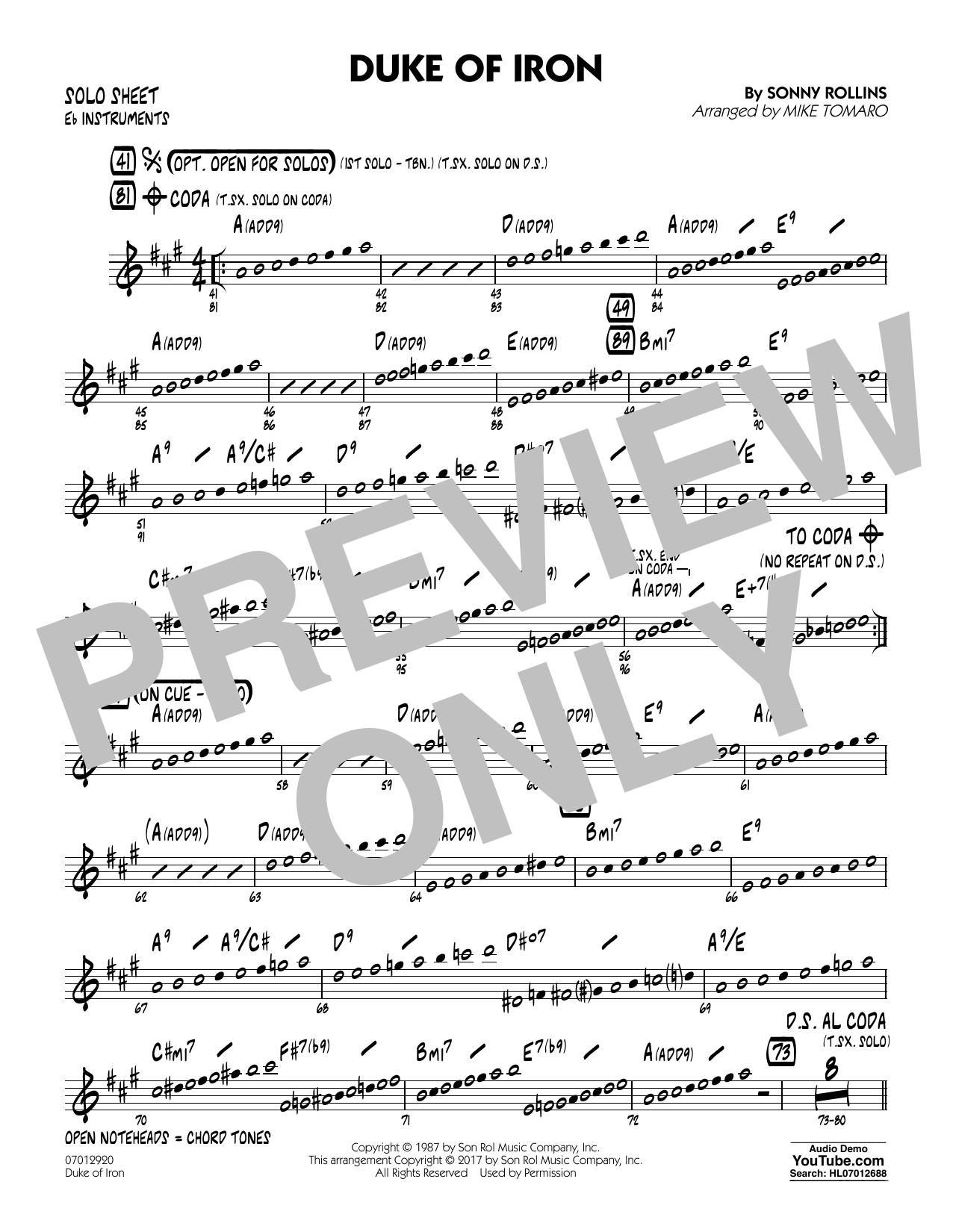 Duke Of Iron - Eb Solo Sheet (Jazz Ensemble)