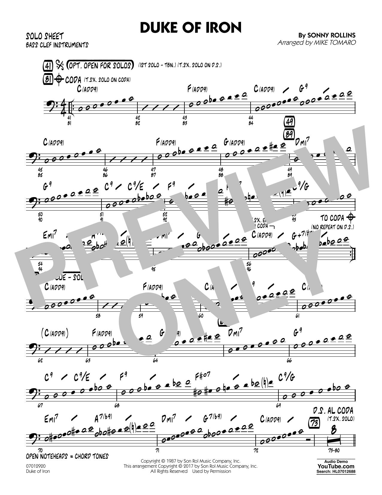 Duke Of Iron - Bass Clef Solo Sheet (Jazz Ensemble)