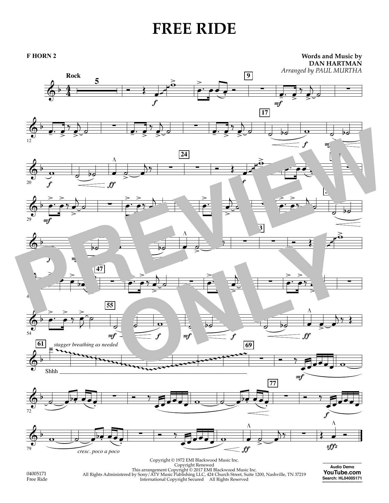 Free Ride - F Horn 2 (Concert Band)