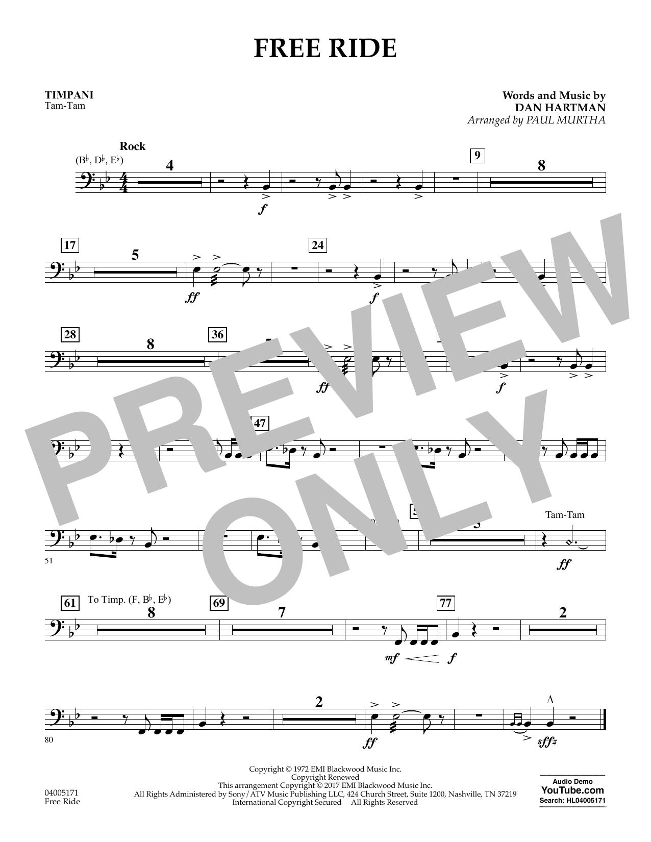 Free Ride - Timpani (Concert Band)
