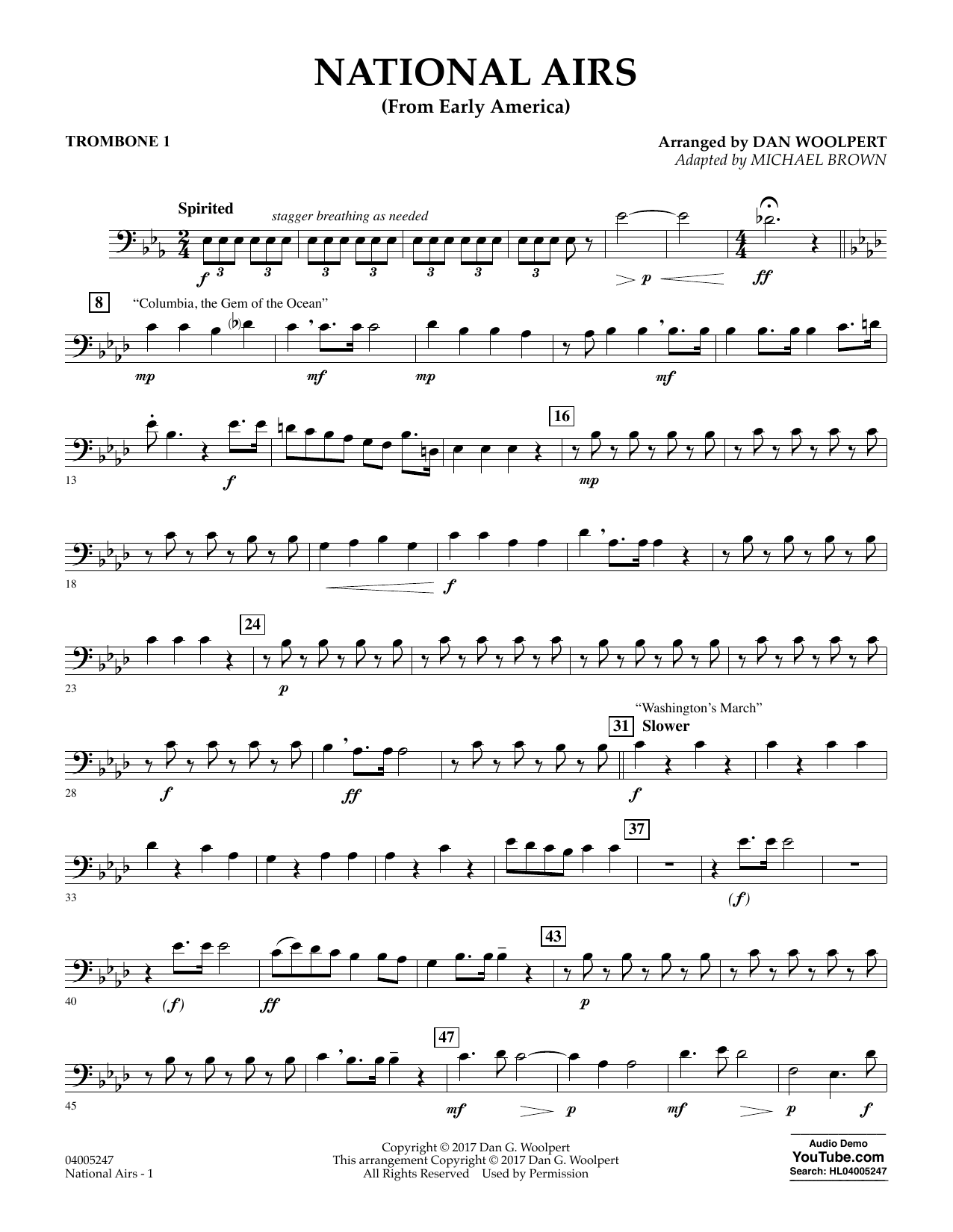 National Airs (from Early America) - Trombone 1 (Concert Band)