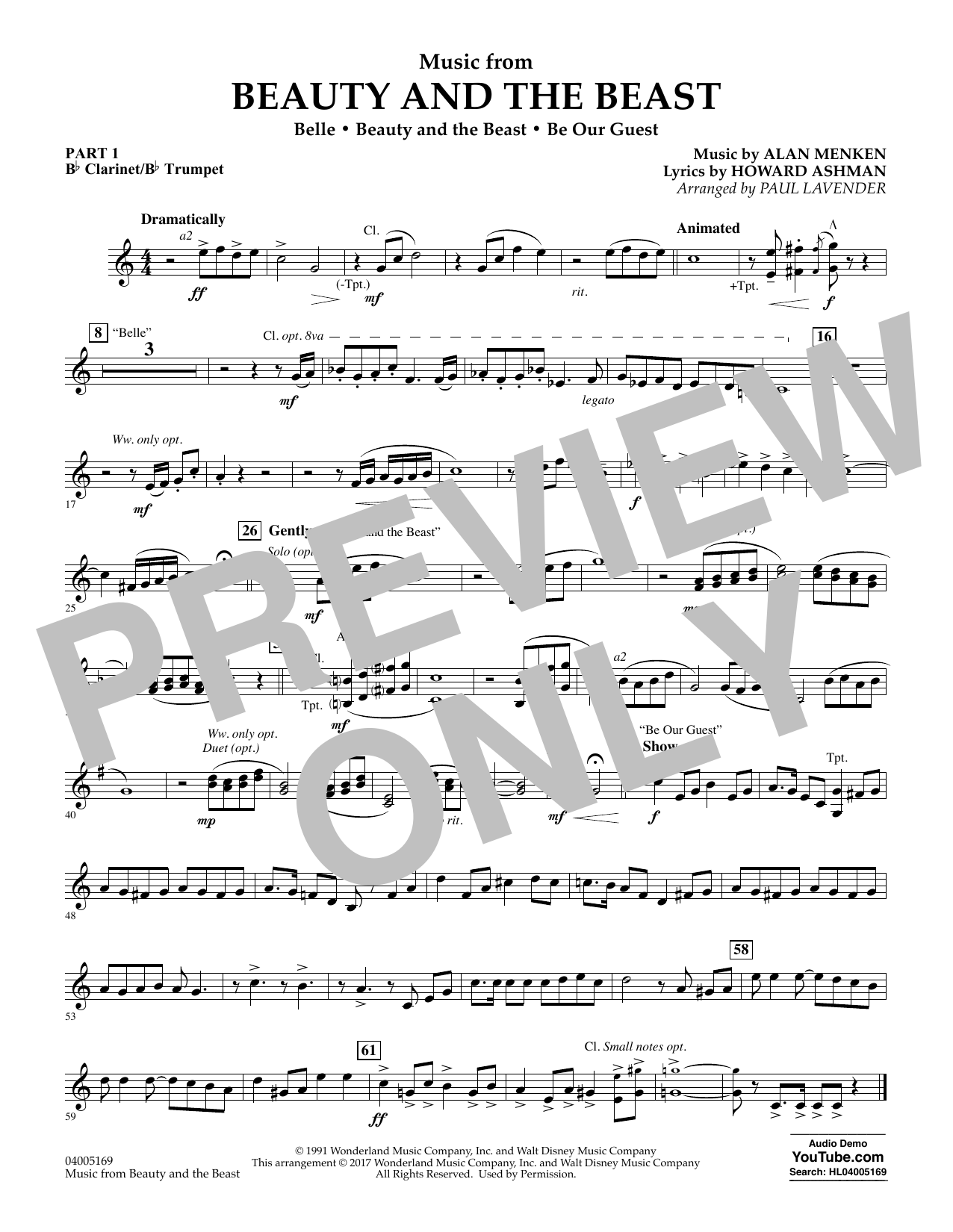 Music from Beauty and the Beast - Pt.1 - Bb Clarinet/Bb Trumpet (Concert Band: Flex-Band)
