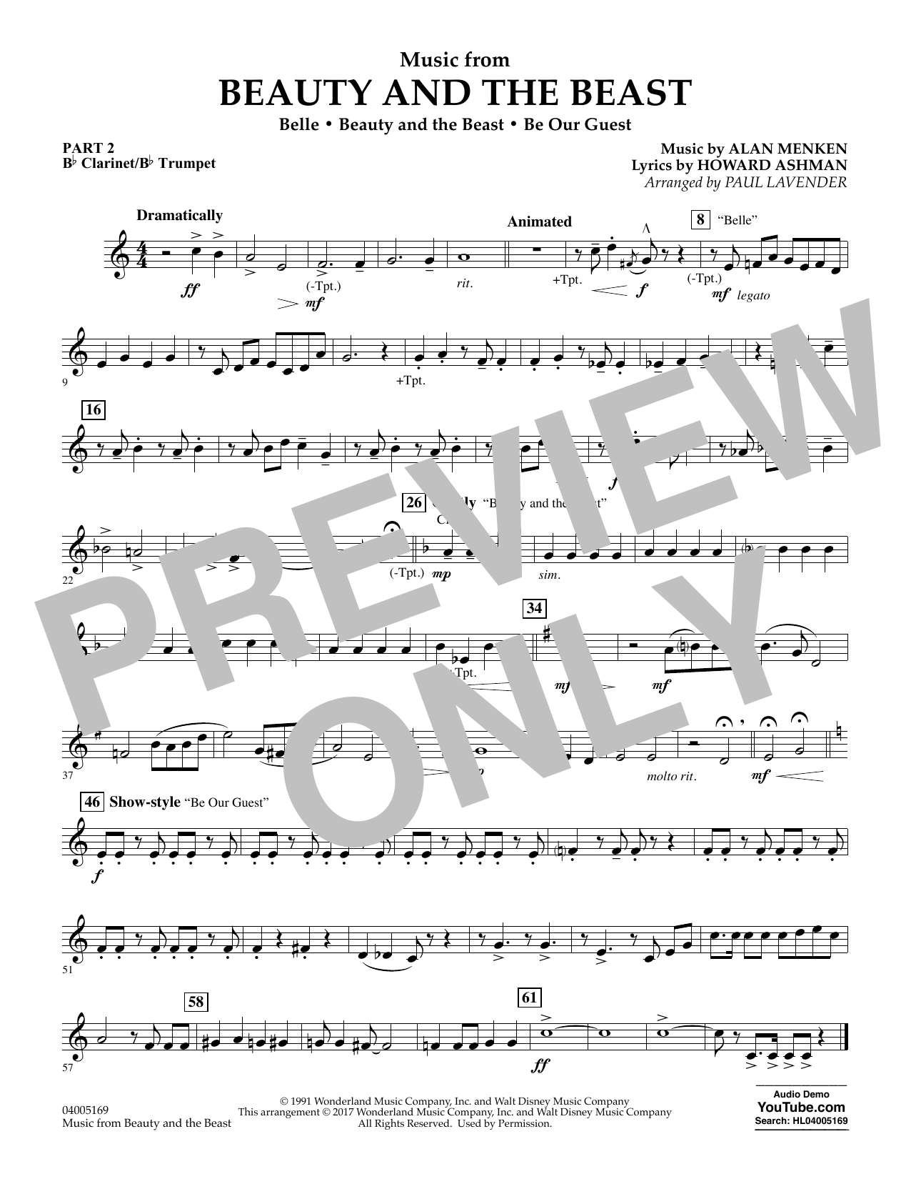 Music from Beauty and the Beast - Pt.2 - Bb Clarinet/Bb Trumpet (Concert Band: Flex-Band)