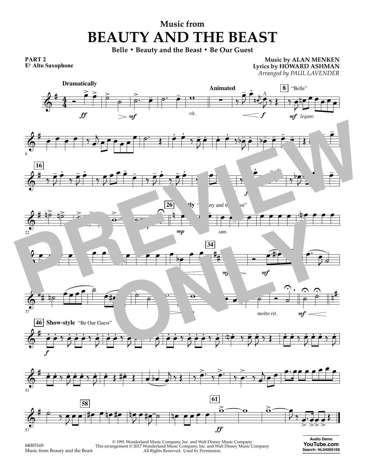 Music from Beauty and the Beast - Pt.2 - Eb Alto Saxophone (Concert Band: Flex-Band)