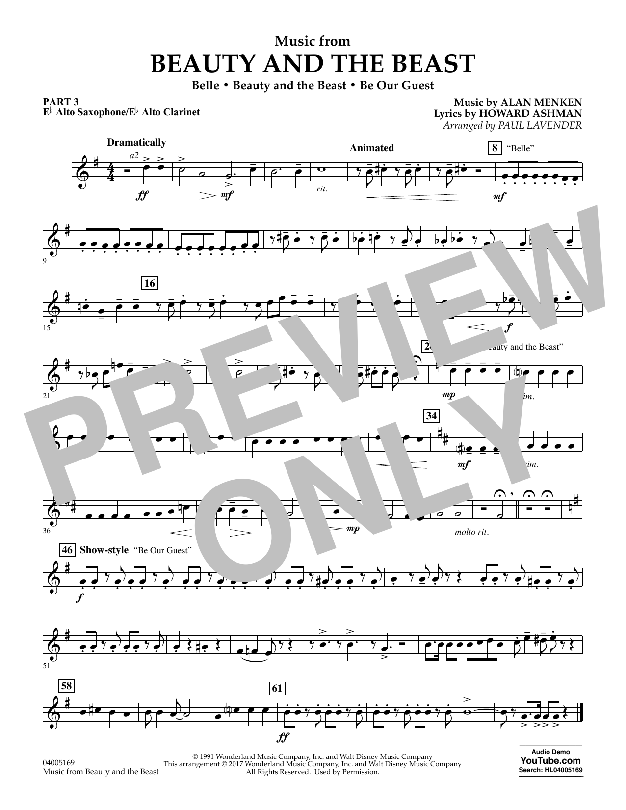 Music from Beauty and the Beast - Pt.3 - Eb Alto Sax/Alto Clar. (Concert Band: Flex-Band)