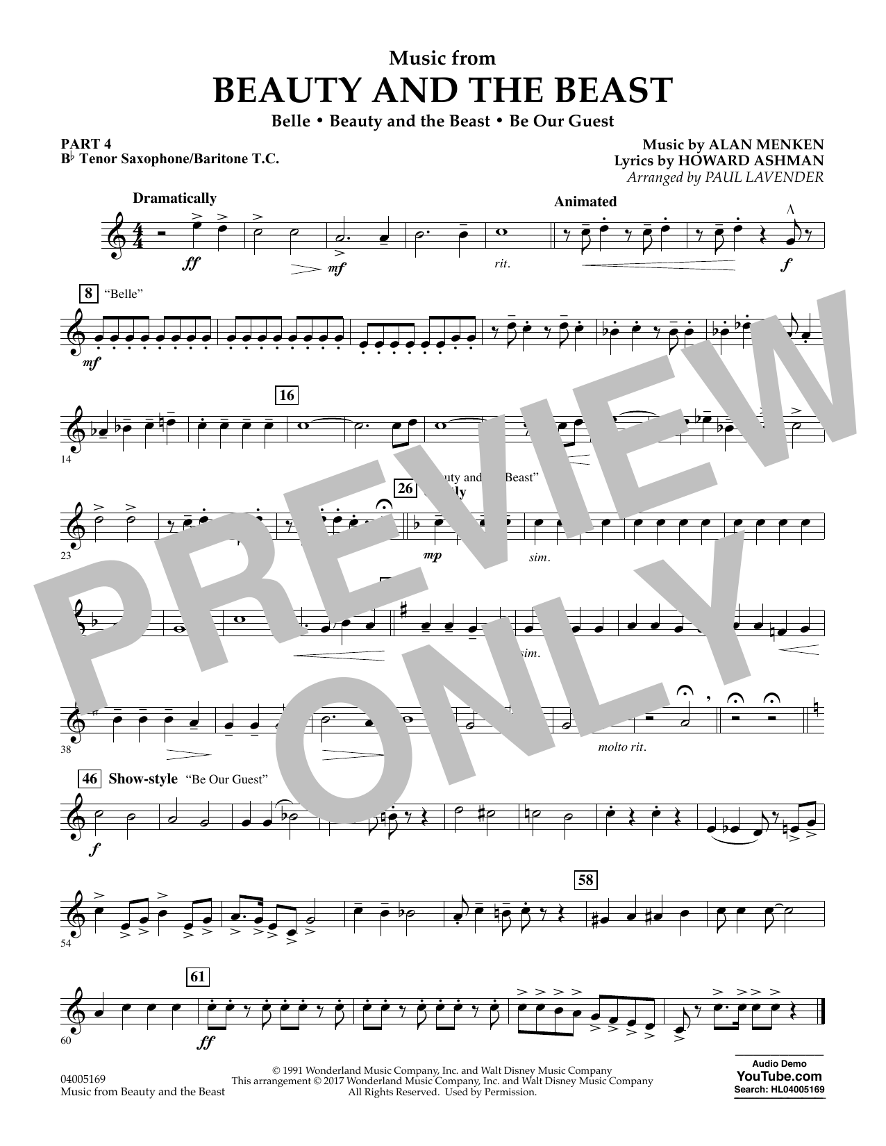 Music from Beauty and the Beast - Pt.4 - Bb Tenor Sax/Bar. T.C. (Concert Band: Flex-Band)