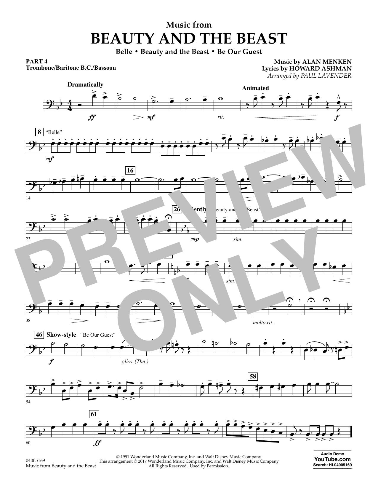 Music from Beauty and the Beast - Pt.4 - Trombone/Bar. B.C./Bsn. (Concert Band: Flex-Band)