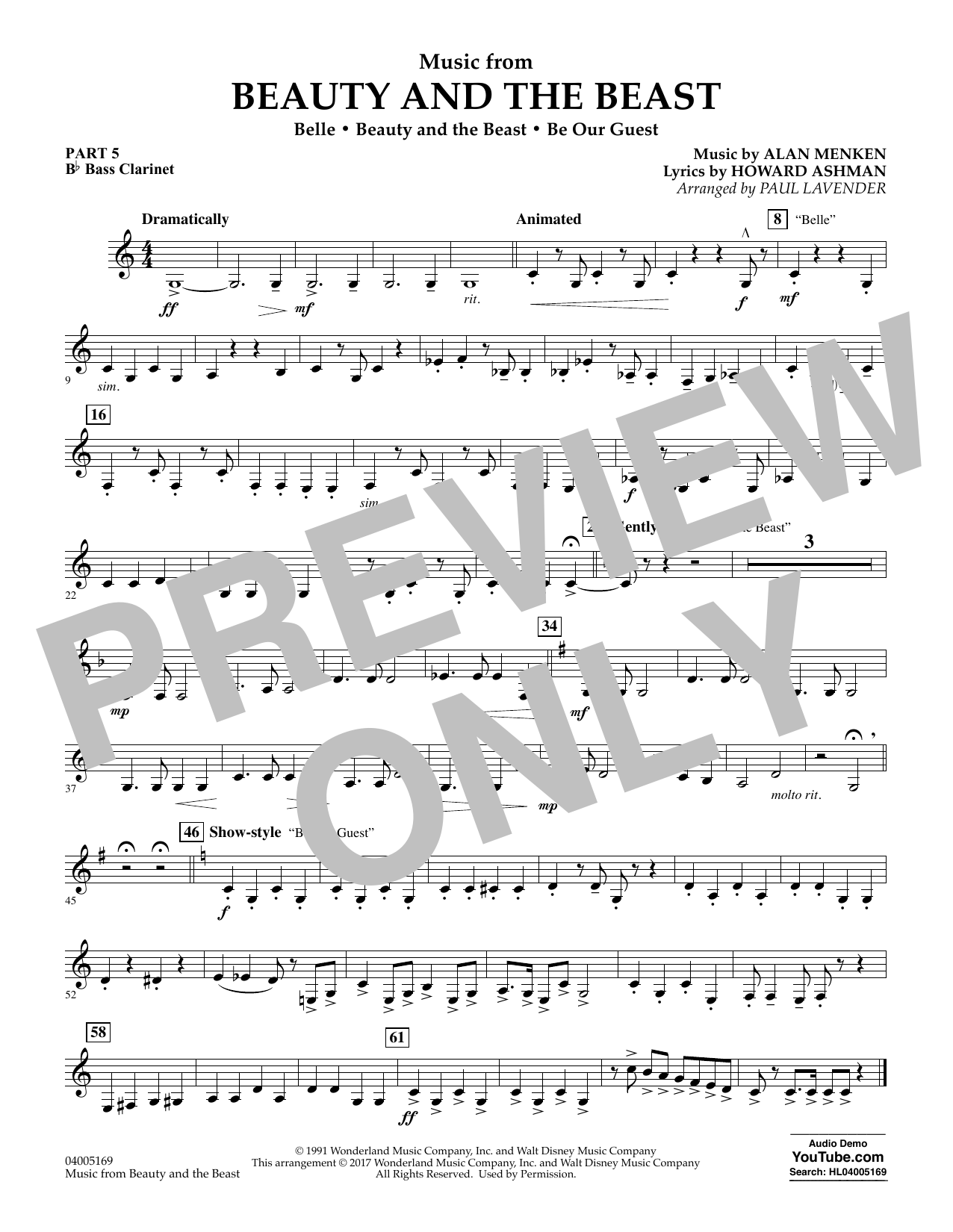 Music from Beauty and the Beast - Pt.5 - Bb Bass Clarinet (Flex-Band)