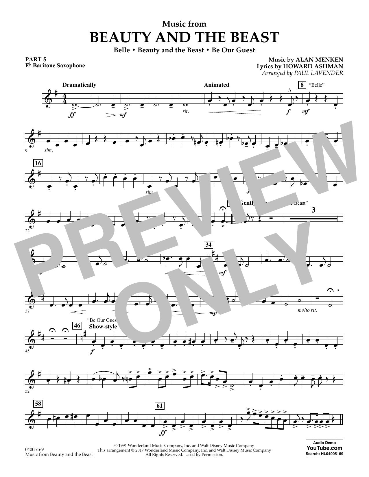 Music from Beauty and the Beast - Pt.5 - Eb Baritone Saxophone (Concert Band: Flex-Band)