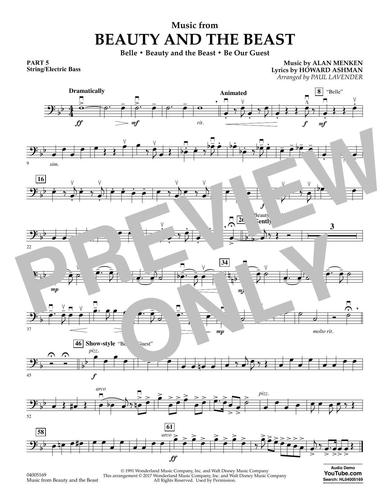 Music from Beauty and the Beast - Pt.5 - String/Electric Bass (Concert Band: Flex-Band)