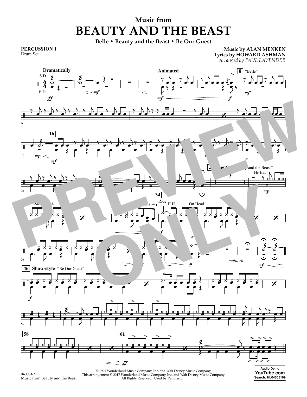 Music from Beauty and the Beast - Percussion 1 (Concert Band: Flex-Band)