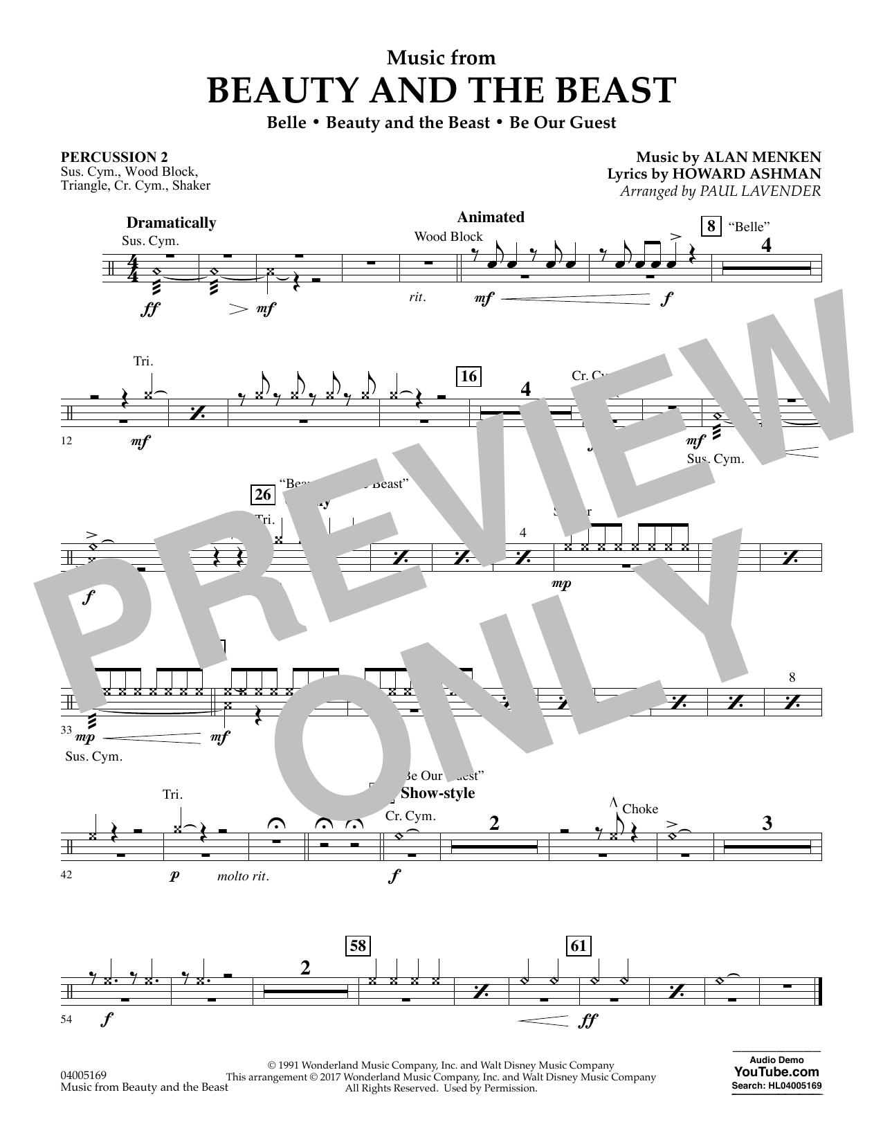 Music from Beauty and the Beast - Percussion 2 (Flex-Band)