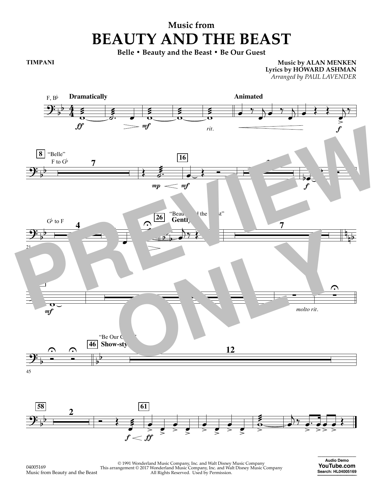 Music from Beauty and the Beast - Timpani (Flex-Band)