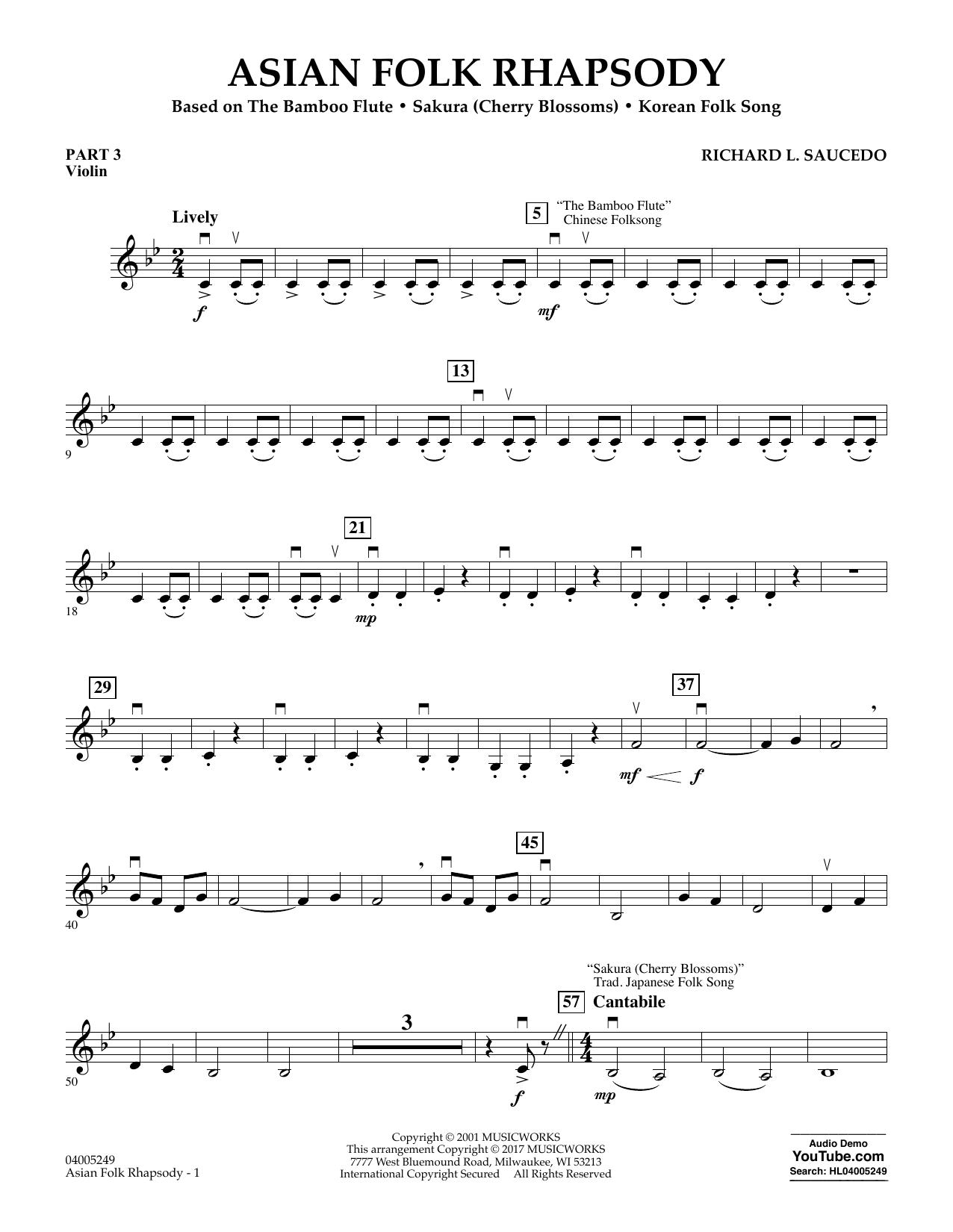 Asian Folk Rhapsody - Pt.3 - Violin (Concert Band: Flex-Band)