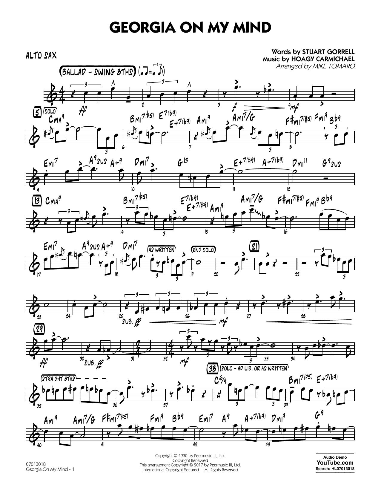 Georgia on My Mind - Alto Sax (Jazz Ensemble)