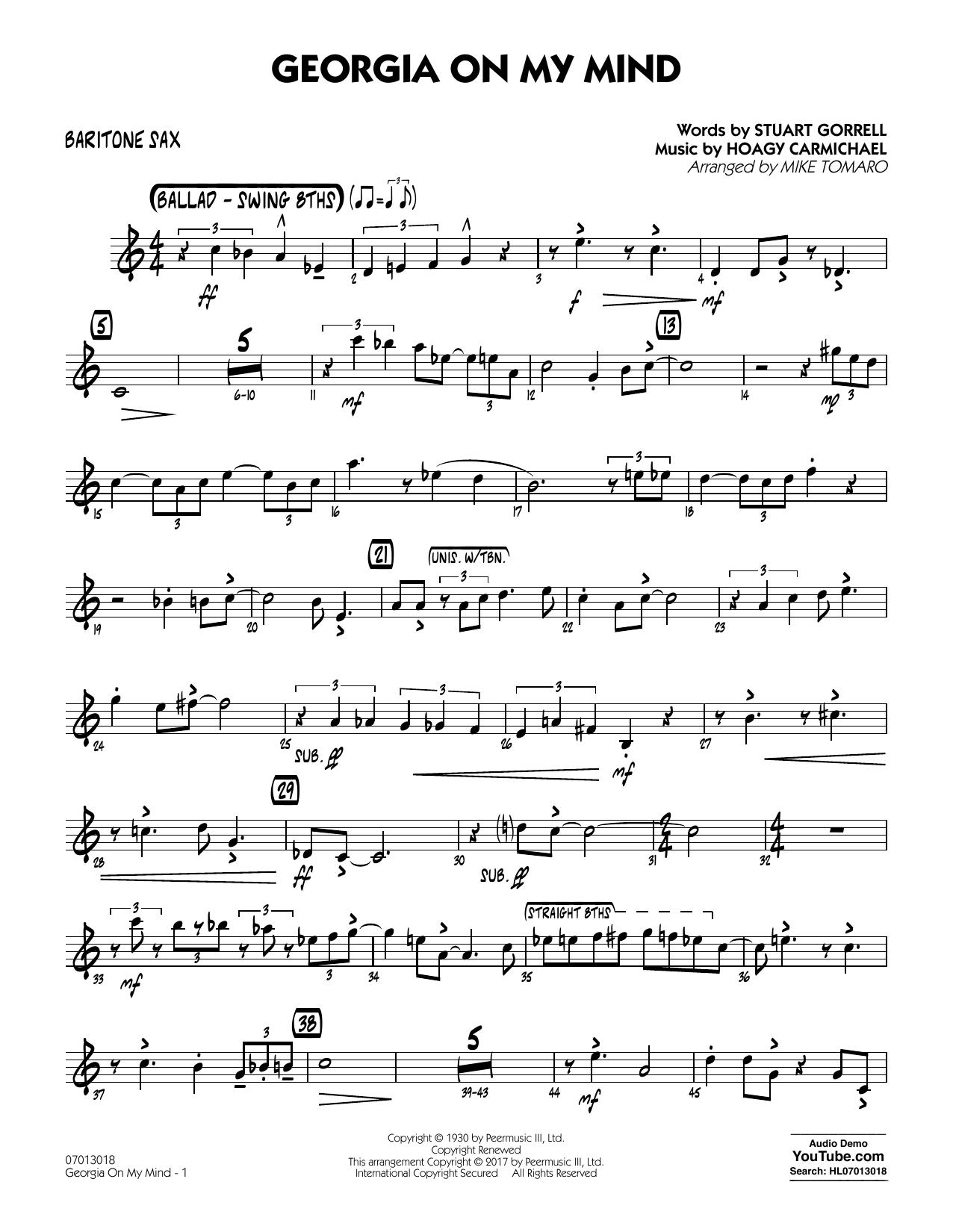 Georgia on My Mind - Baritone Sax (Jazz Ensemble)