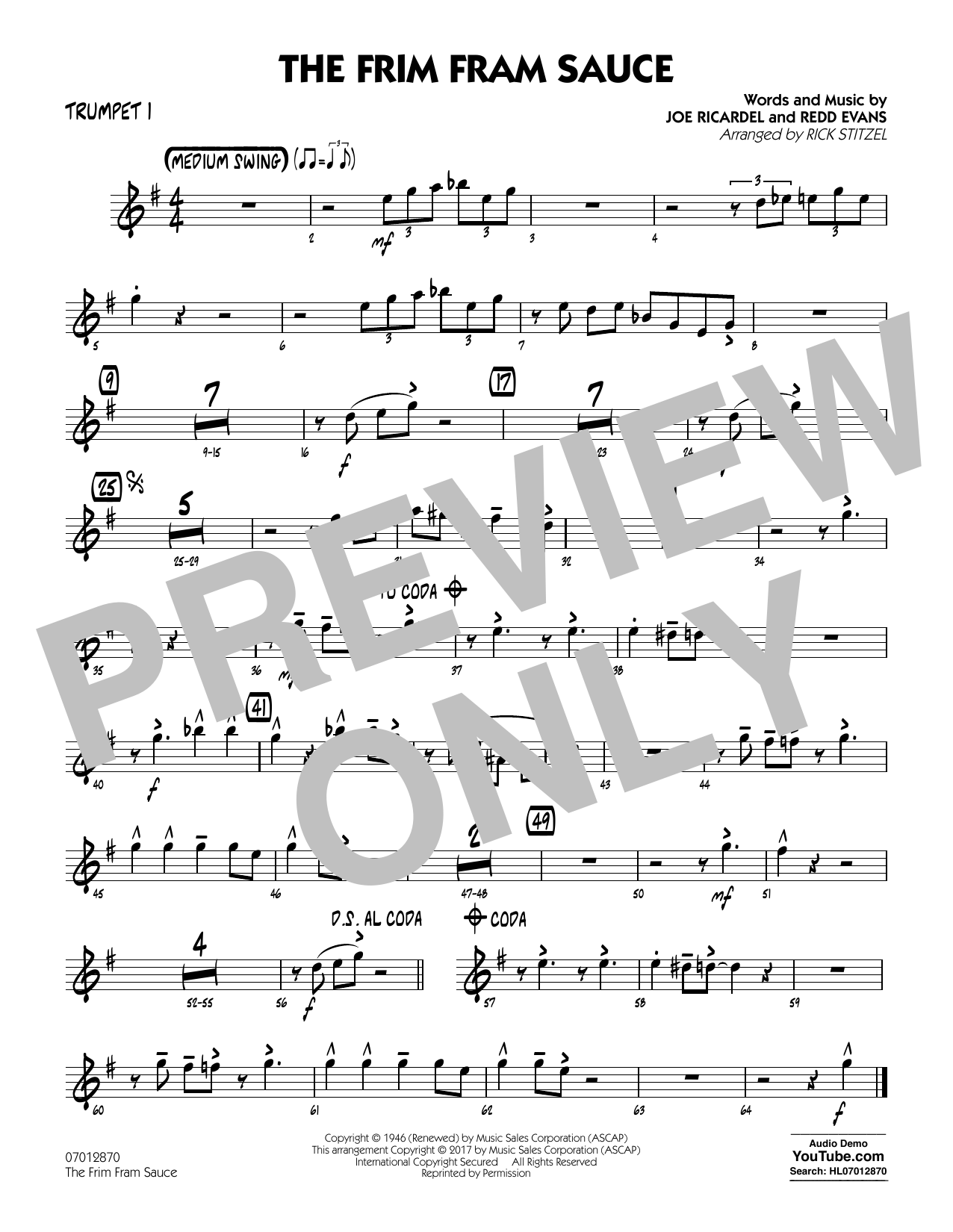 The Frim Fram Sauce (Key: F) - Trumpet 1 (Jazz Ensemble)
