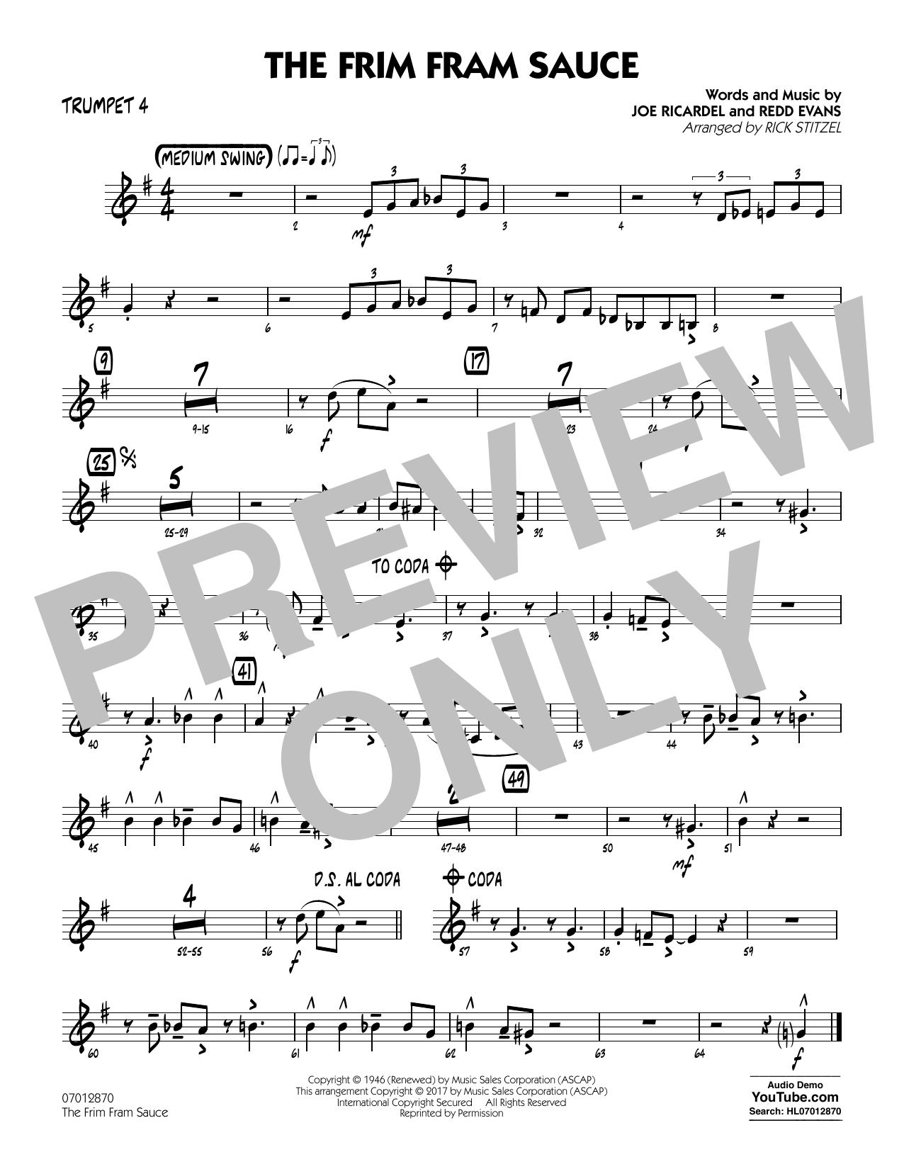 The Frim Fram Sauce (Key: F) - Trumpet 4 (Jazz Ensemble)